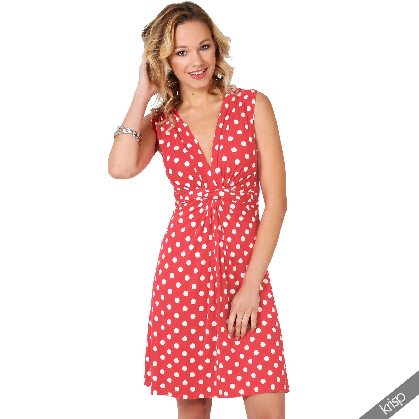 Womens-Polka-Dot-Retro-Dress-Pleated-Skirt-Wrap-Mini-V-Neck-Top-Swing-Party thumbnail 10