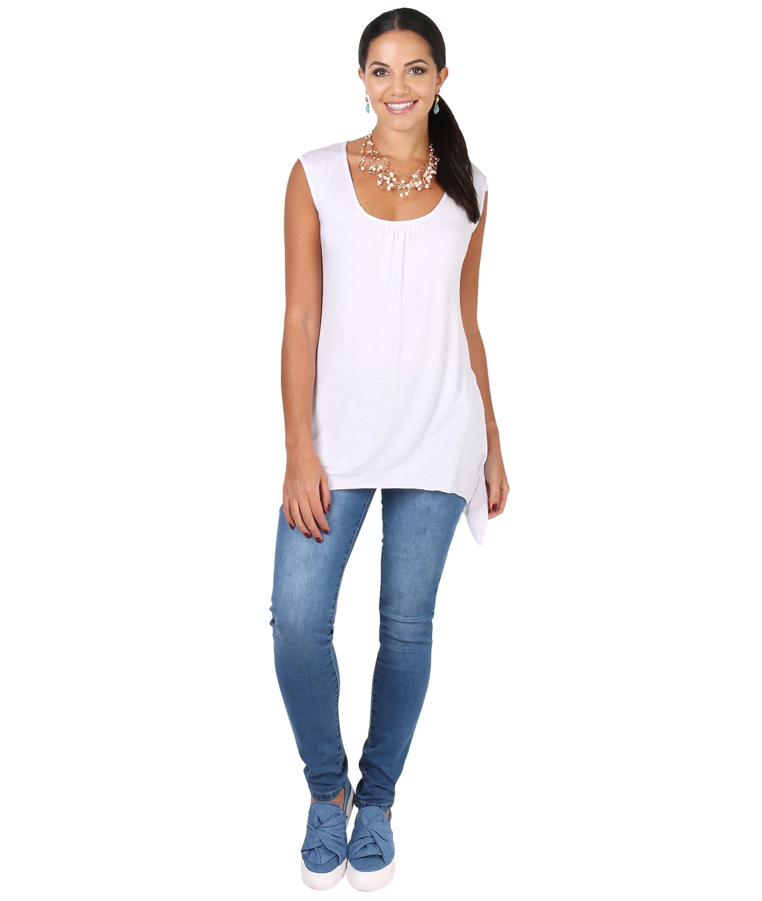 Women-Long-Top-Sleeveless-Pleated-Tee-Shirt-Tunic-Jersey-Stretch-Loose-Fit thumbnail 31