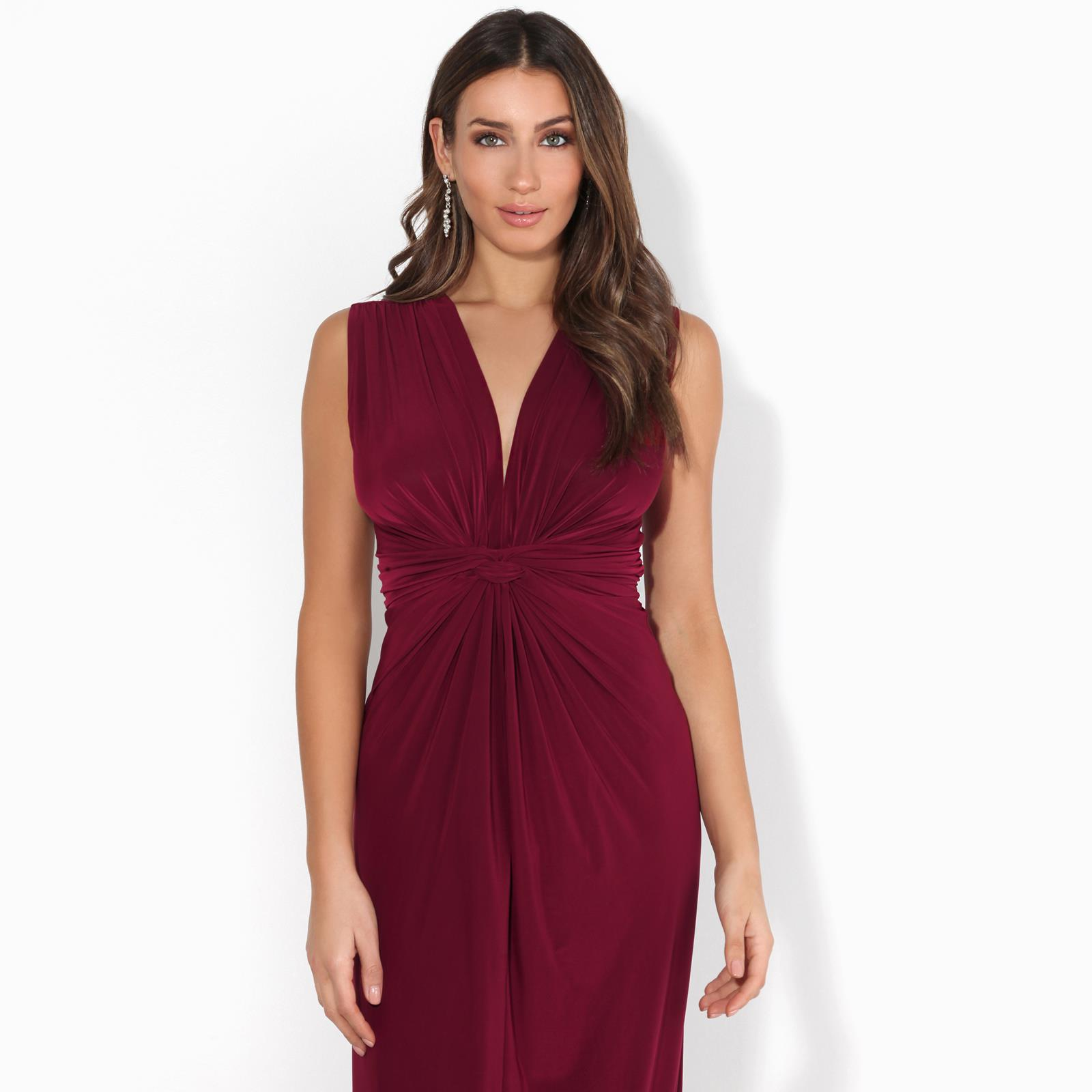 Womens-Ladies-Boho-Long-Maxi-Dress-Knot-V-Neck-Sleeveless-Pleated-Summer-Party thumbnail 15