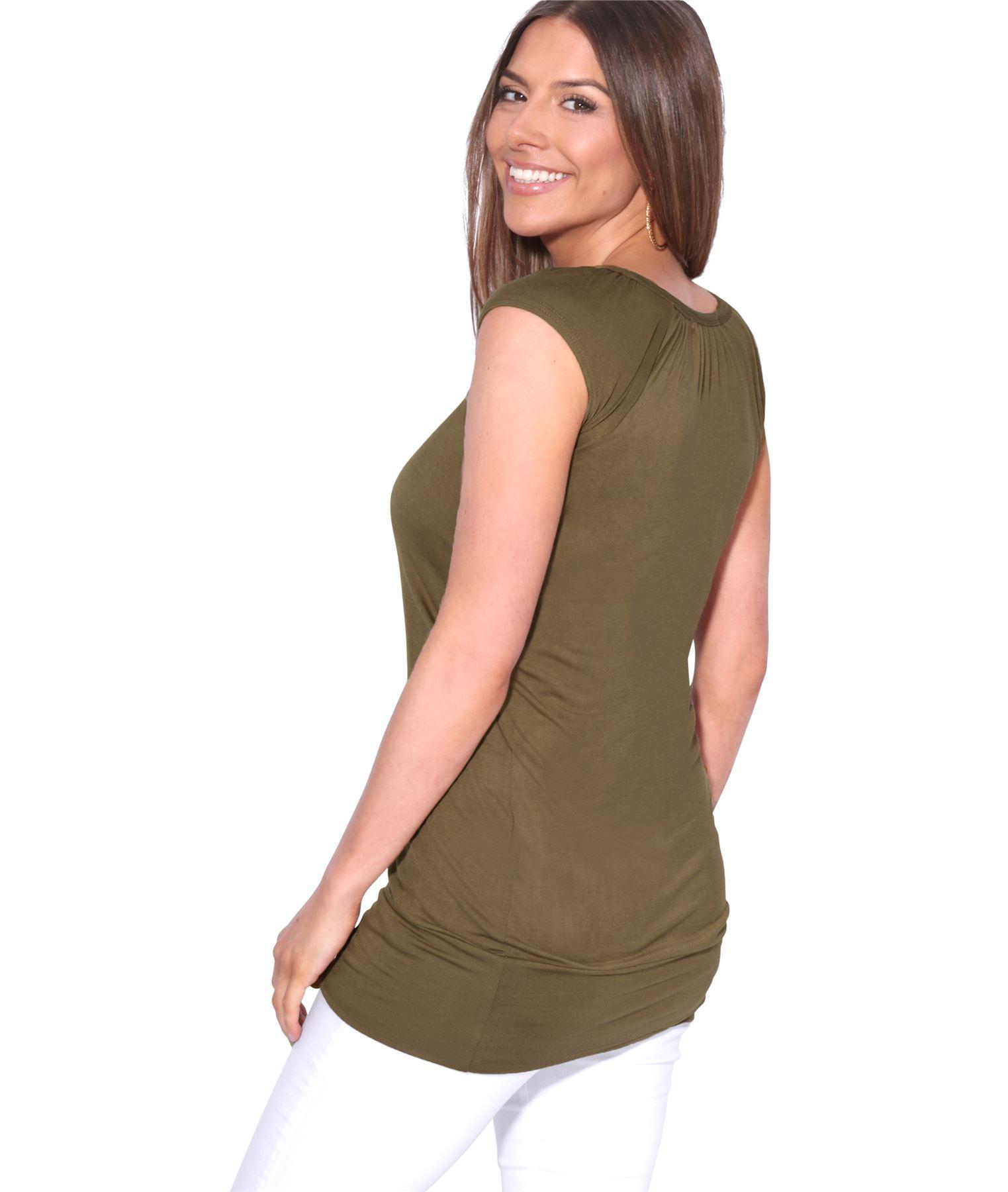 Womens-Ladies-Plain-T-Shirt-Short-Sleeve-Long-Loose-V-Neck-Blouse-Tunic-Top thumbnail 24