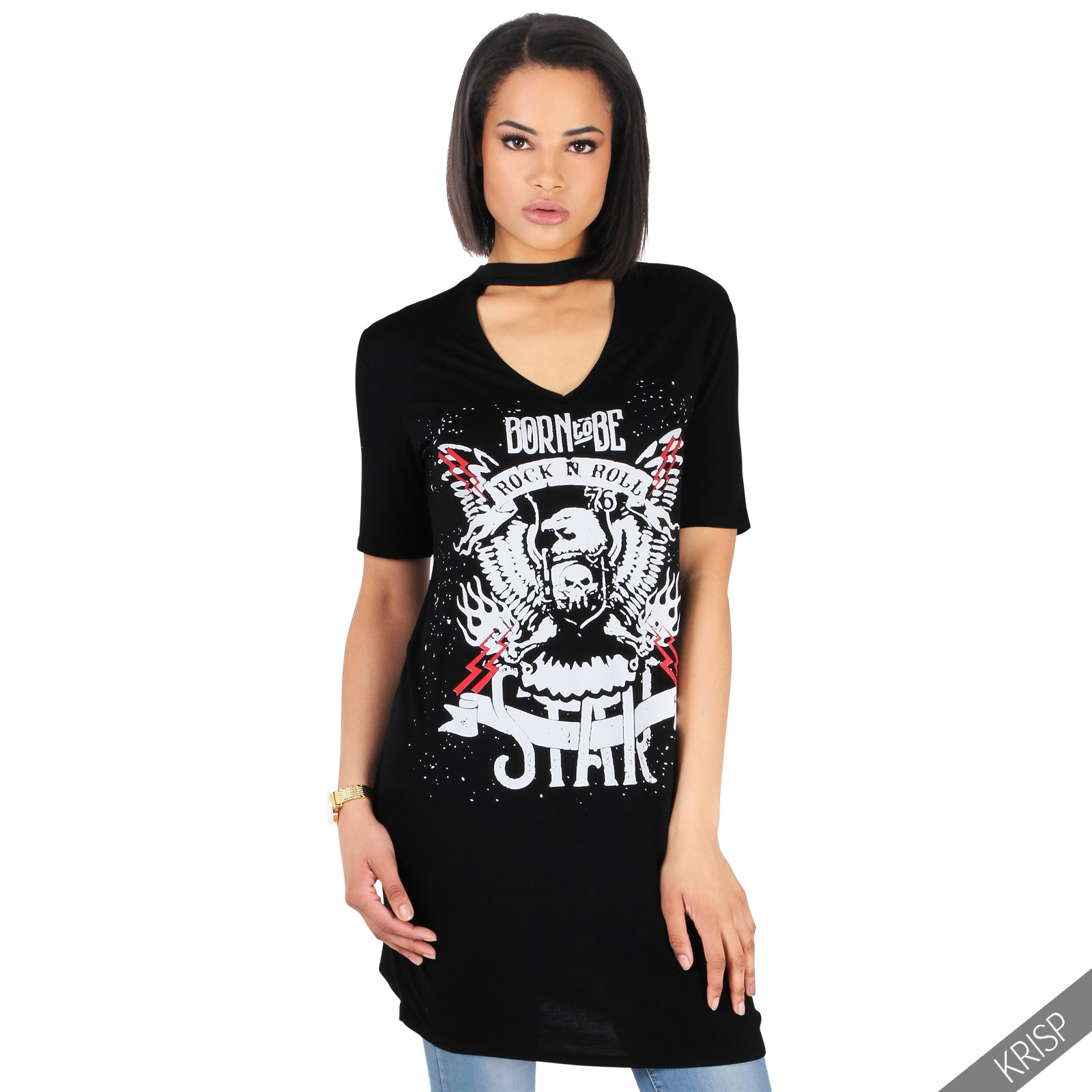Womens Casual American Print Choker V Neck Loose T Shirt