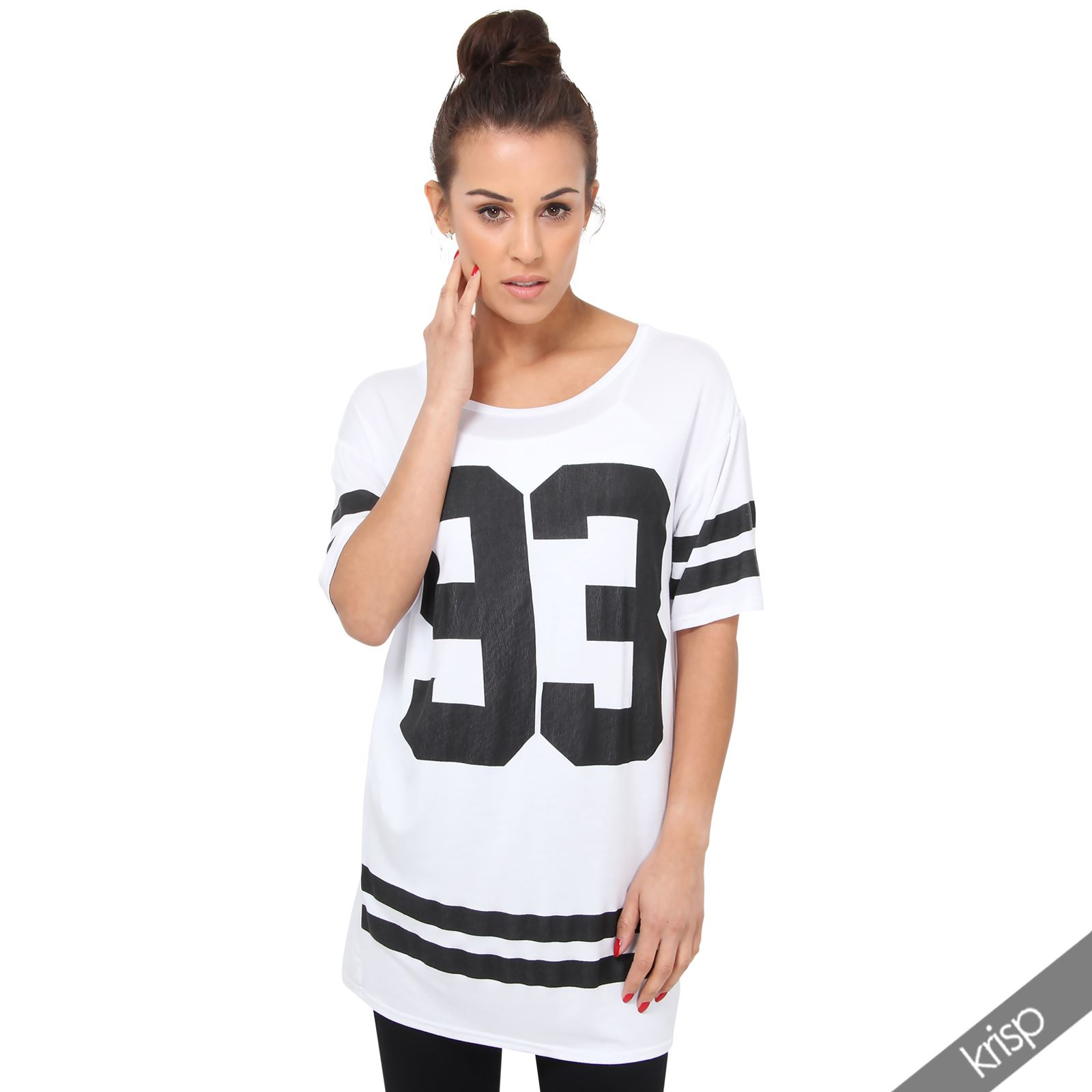 womens american college print long t shirt loose tunic top. Black Bedroom Furniture Sets. Home Design Ideas