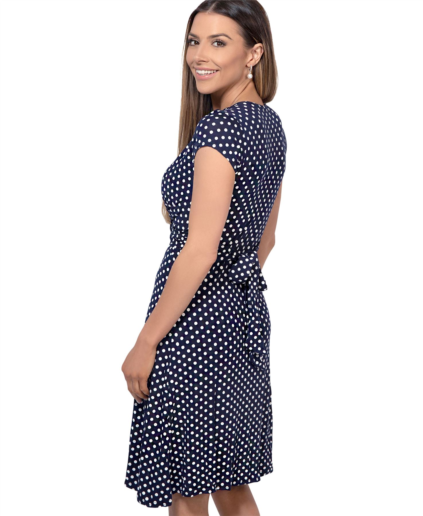 Polka-Dot-Dress-Pleated-Skirt-V-Neck-Mini-Front-Knot-Wrap-Swing-Top-Black-Navy thumbnail 7