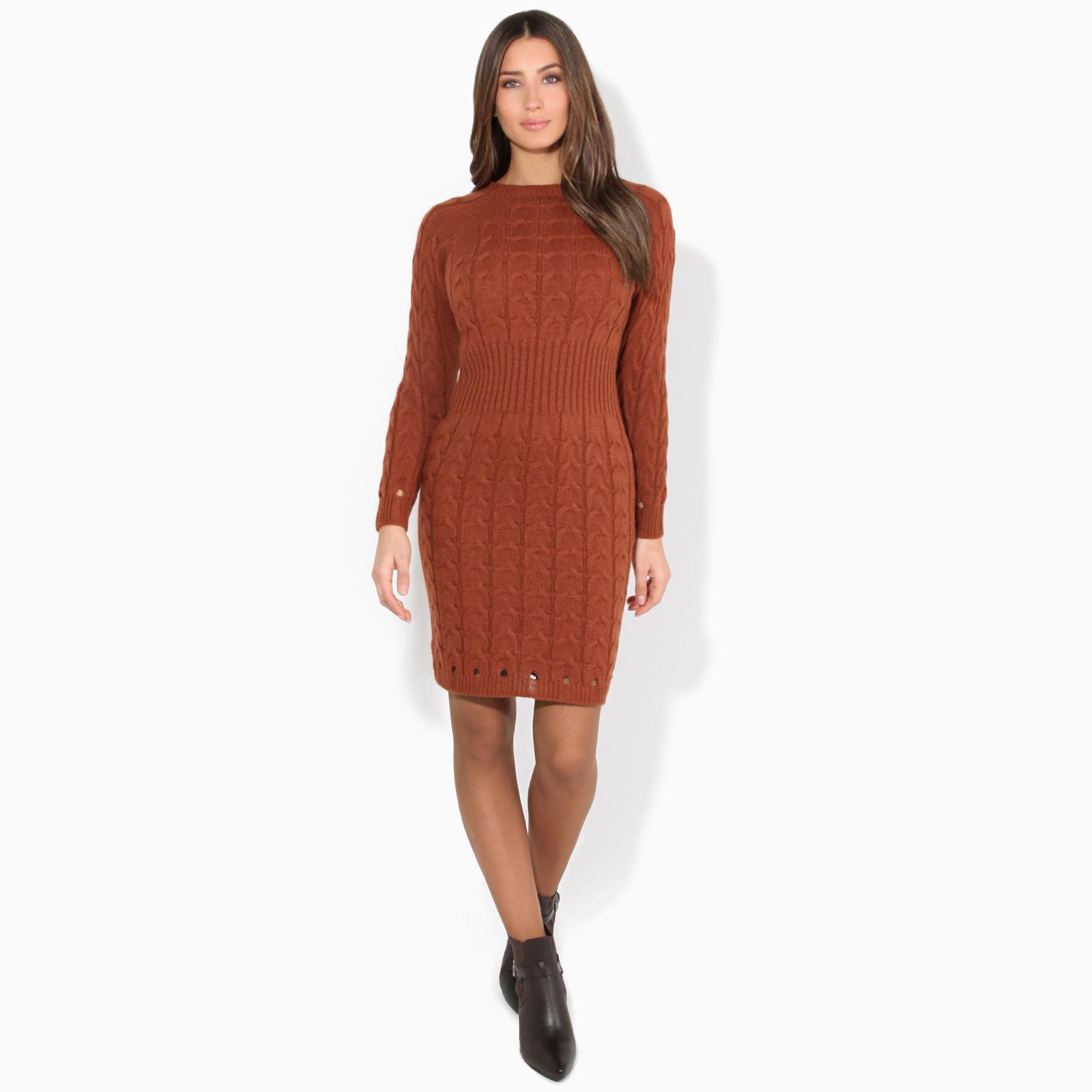 Womens-Ladies-Jumper-Dress-Longsleeve-Mini-Warm-Winter-Knit-Top-Bodycon thumbnail 18