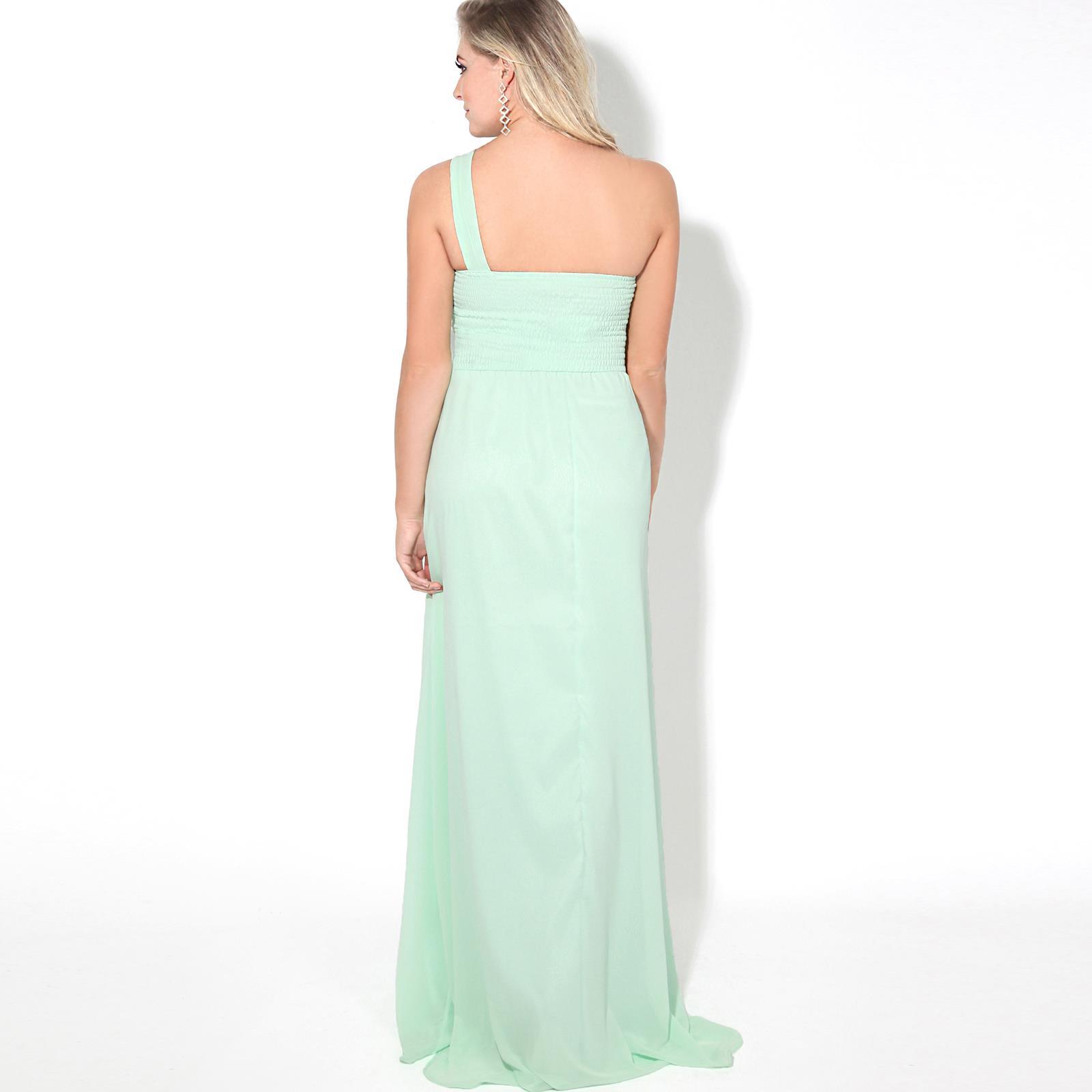Womens-Wedding-Bridesmaid-Prom-Dress-Formal-One-Off-Shoulder-Long-Evening-8-18 thumbnail 38