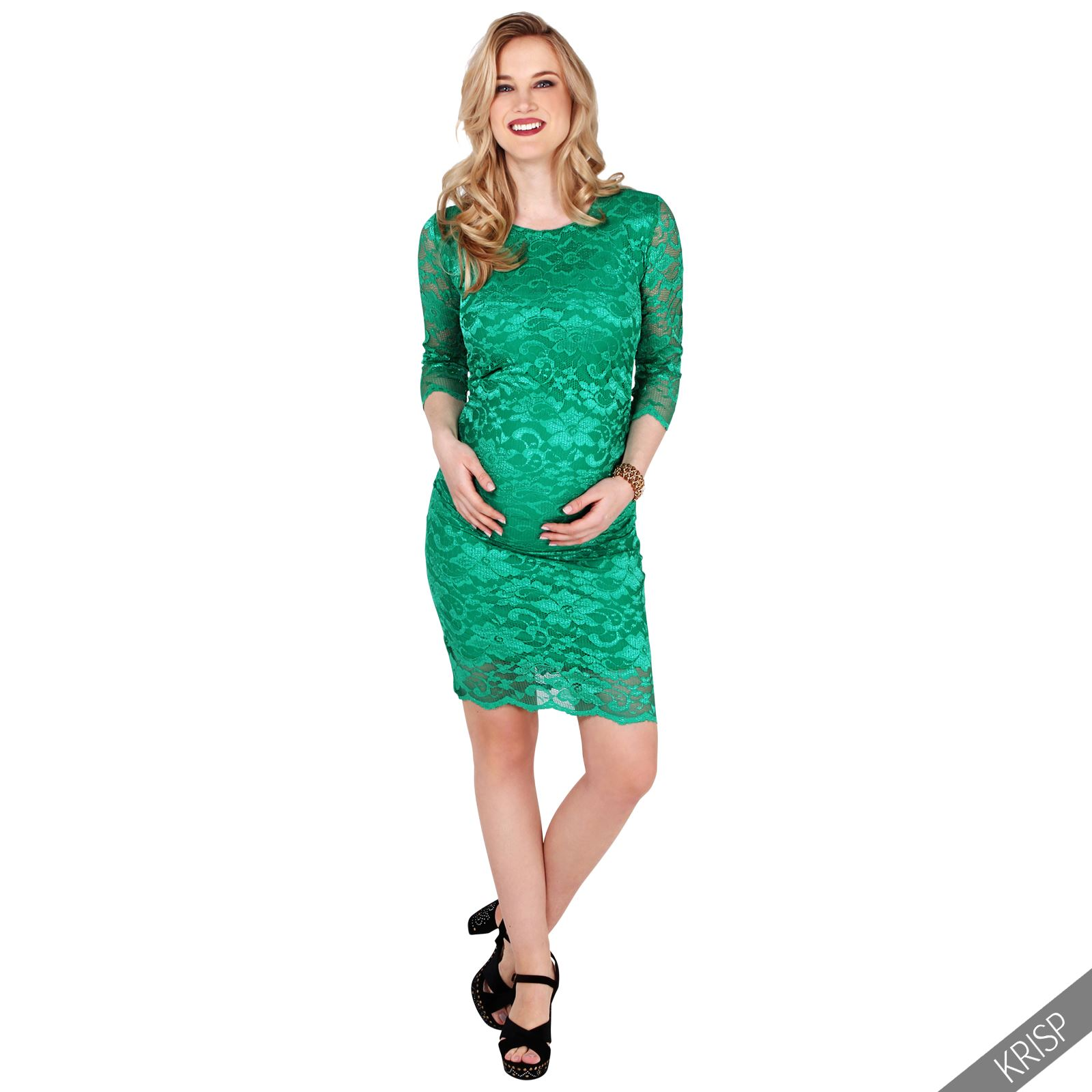 Maternity Retro Lace Stretch Bodycon Pregnancy Midi Dress Party ...