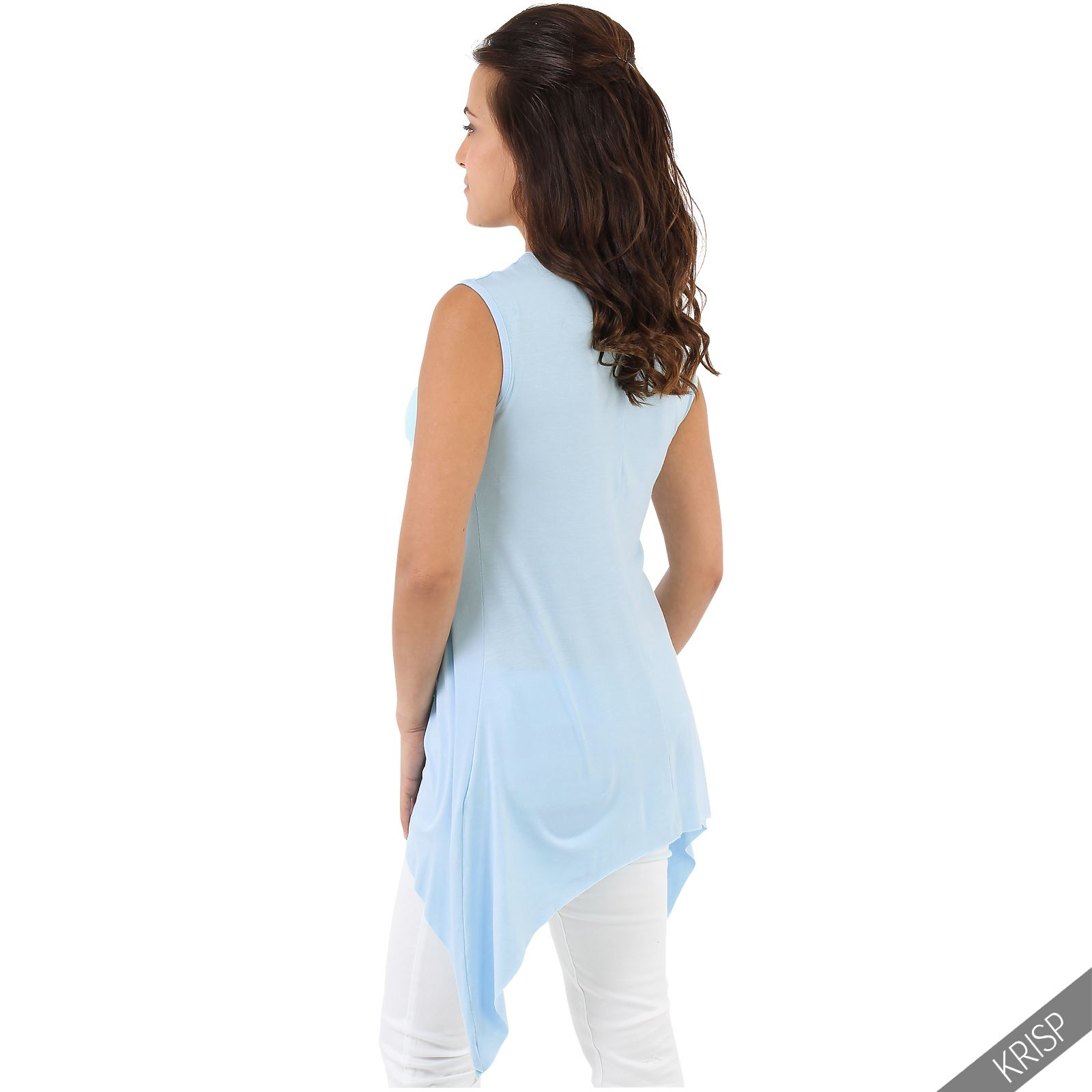 Women-Long-Top-Sleeveless-Pleated-Tee-Shirt-Tunic-Jersey-Stretch-Loose-Fit thumbnail 3