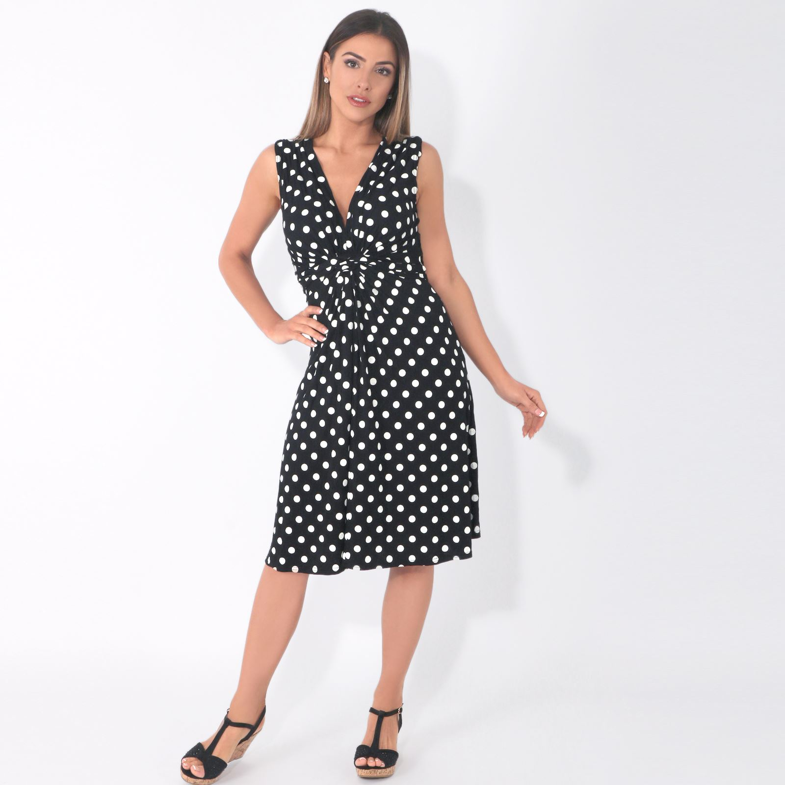 Womens-Dot-Print-Dress-Retro-Vintage-Pleated-Mini-V-Neck-Wrap-Top-Swing-Party thumbnail 3