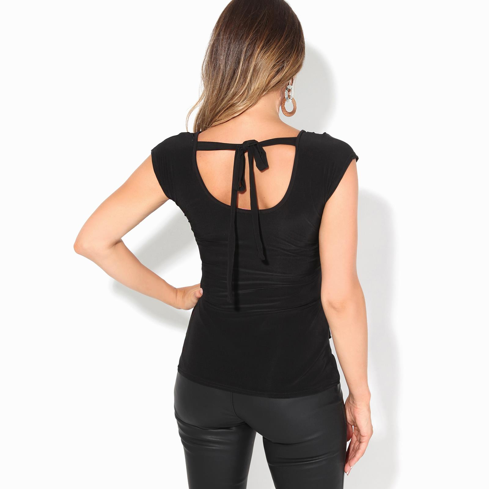 Womens-Ladies-Cowl-Neck-Top-Sleeveless-Silk-Drape-T-Shirt-Low-Cut-Back-Party thumbnail 3