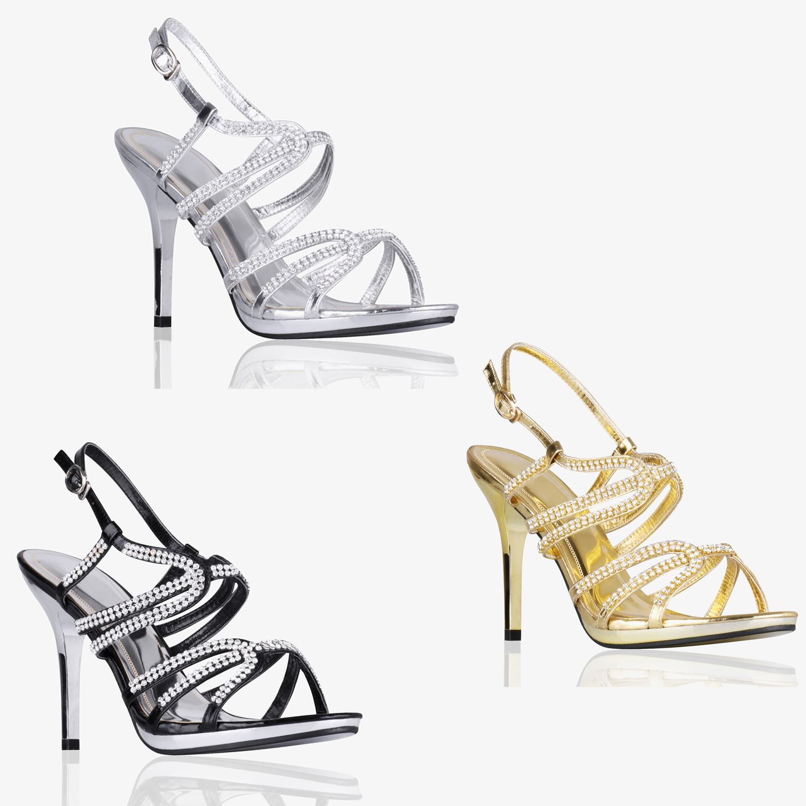 Details about Women Ladies Diamante Slingback High Heel Evening Sandals  Wedding Bridal Shoes