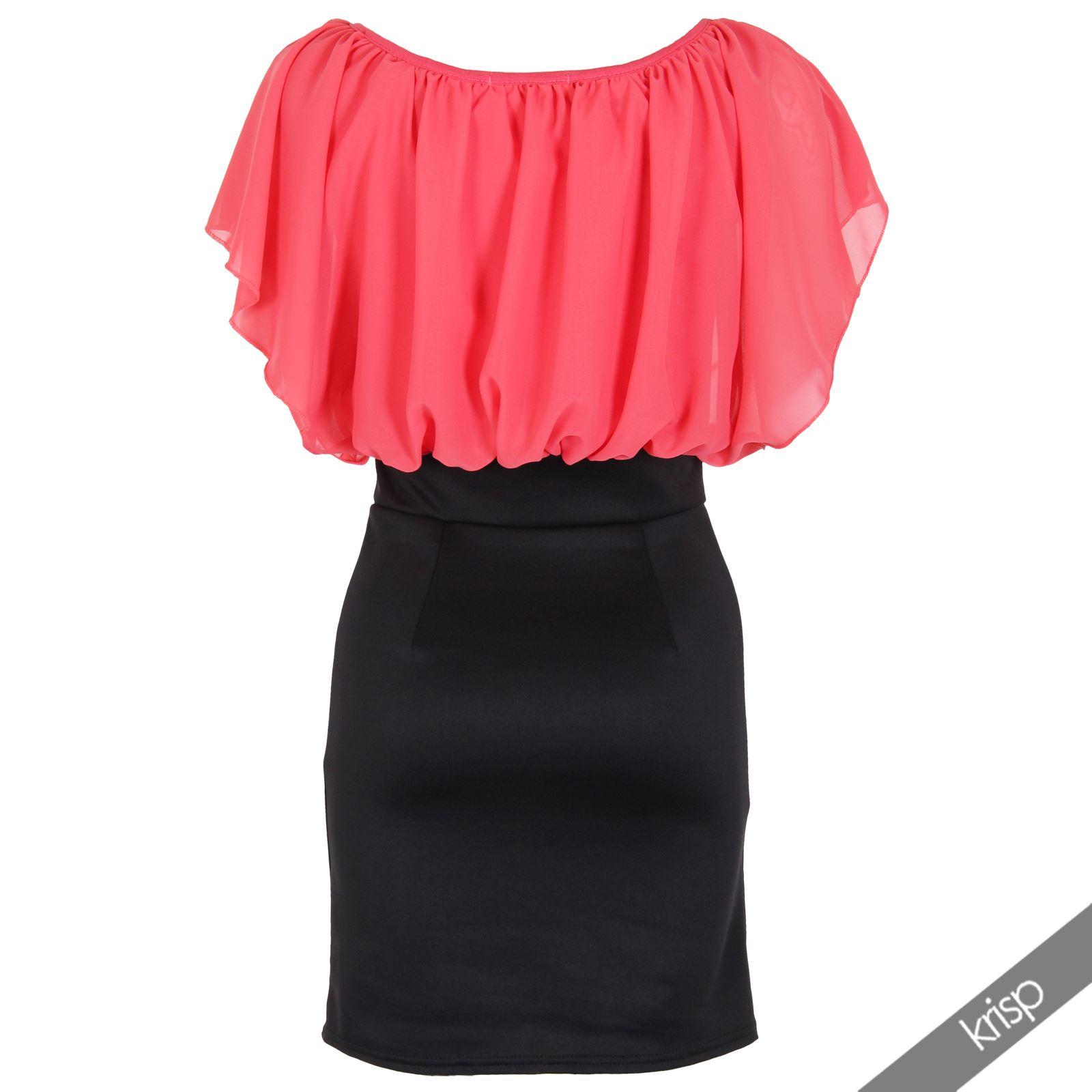 Womens-Pleated-Chiffon-Batwing-Top-High-Waist-Pencil-Bodycon-Skirt-Mini-Dress thumbnail 12