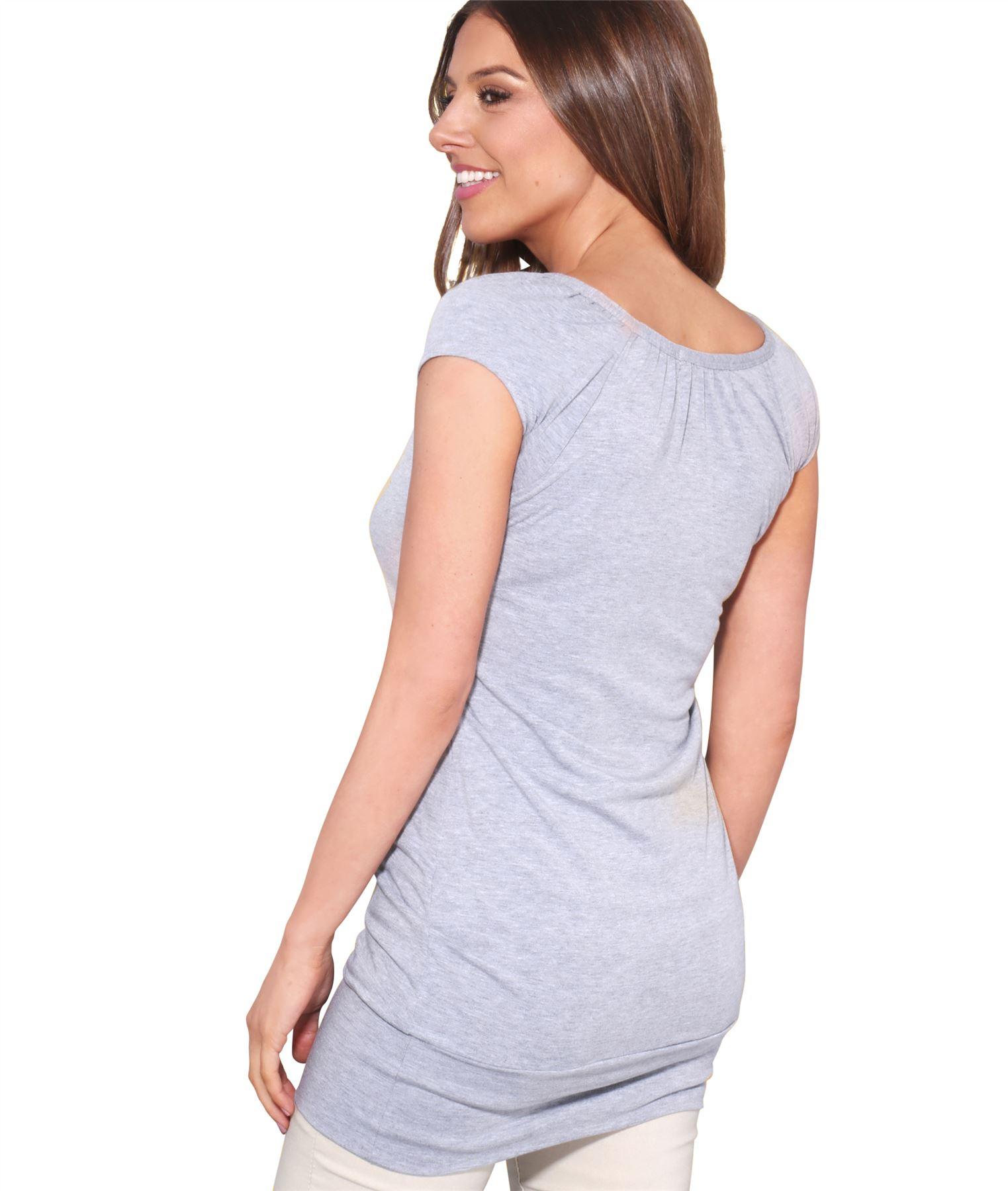 Womens-Ladies-Plain-T-Shirt-Short-Sleeve-Long-Loose-V-Neck-Blouse-Tunic-Top thumbnail 20