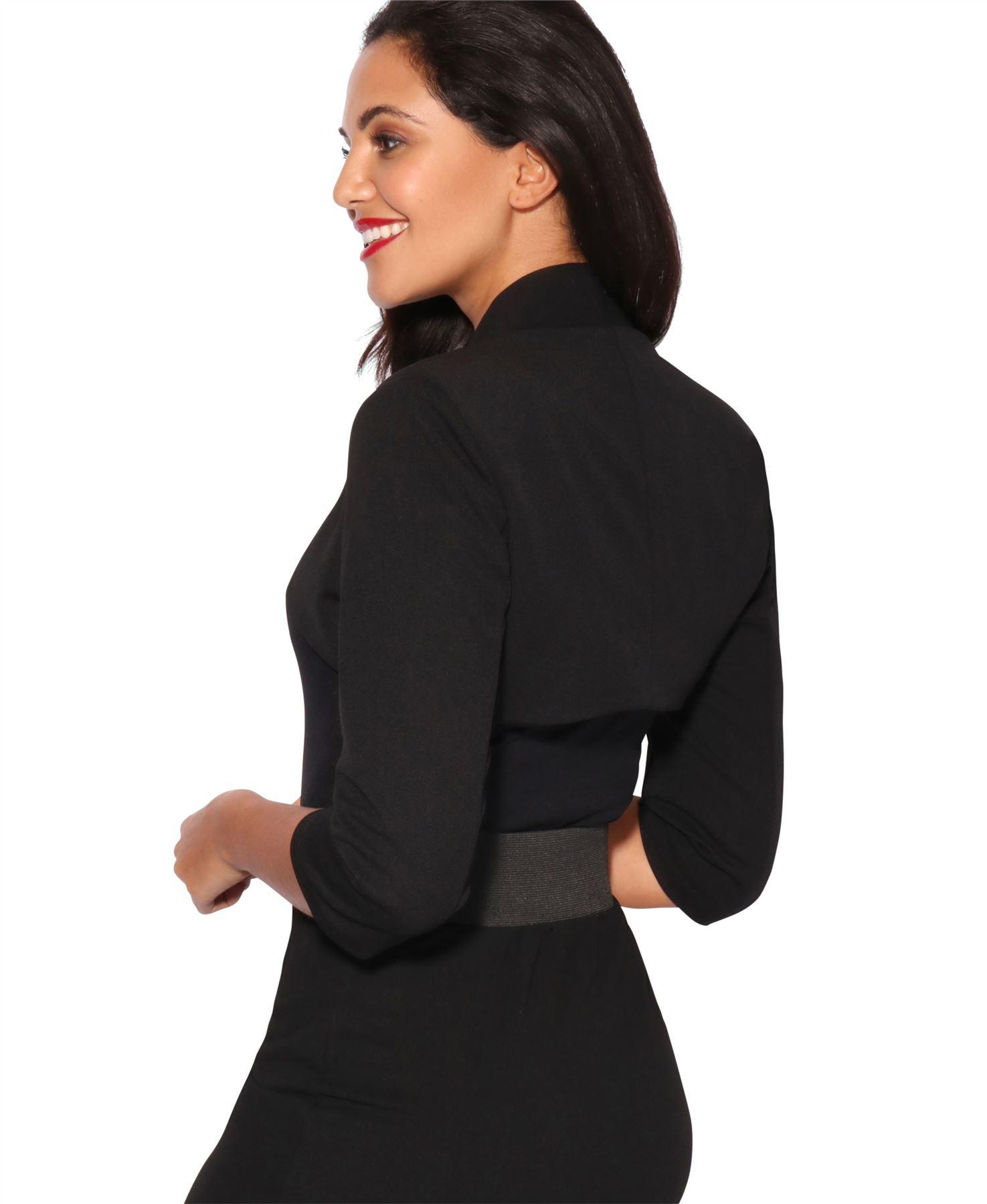 Womens-Tailored-Bolero-Shrug-Cropped-Top-Short-Sleeve-Party-Blazer-Jacket-Coat thumbnail 3