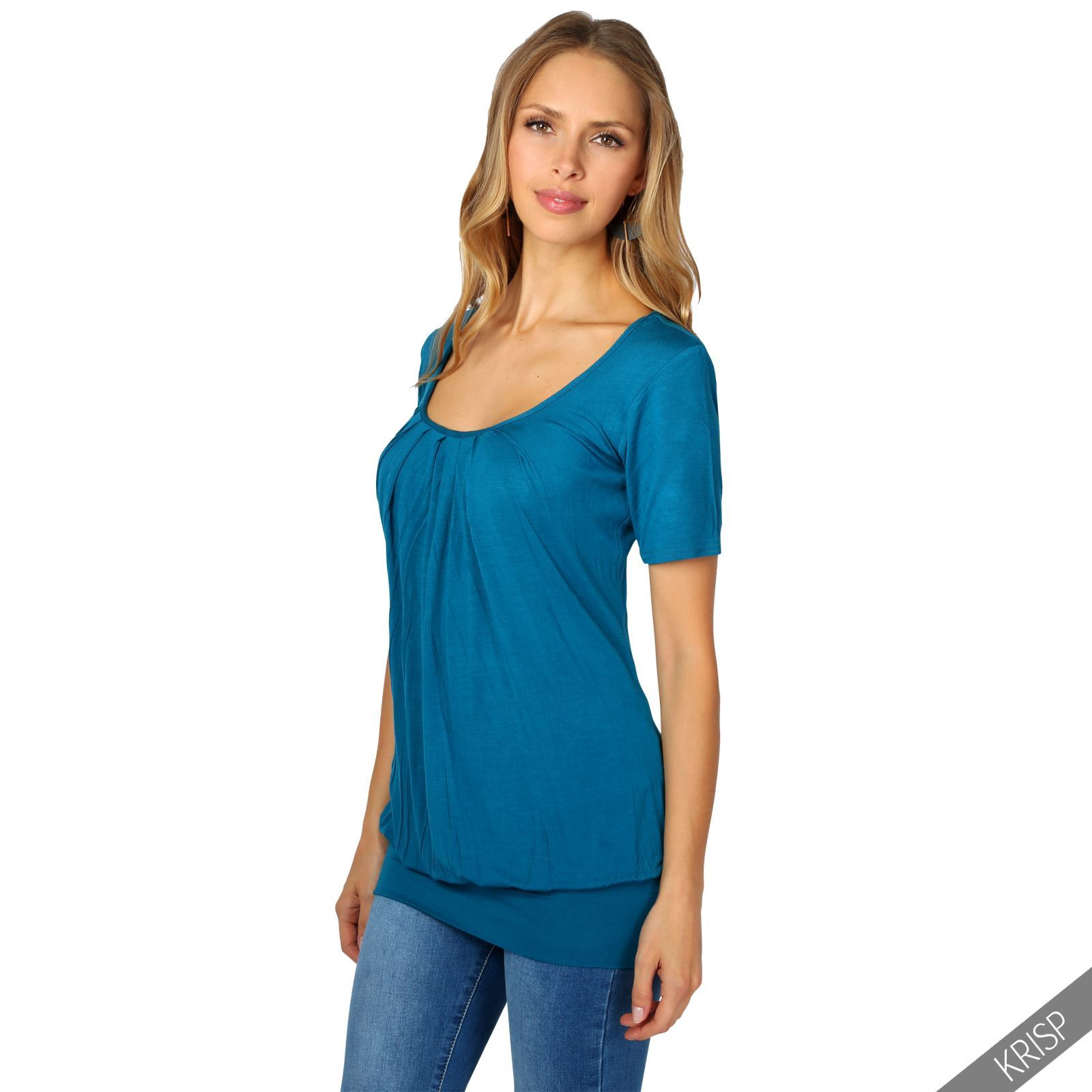 Womens-Ladies-Pleated-T-Shirt-Long-Blouse-Loose-Jersey-Top-Plain-Tunic-Plus-8-20 thumbnail 14