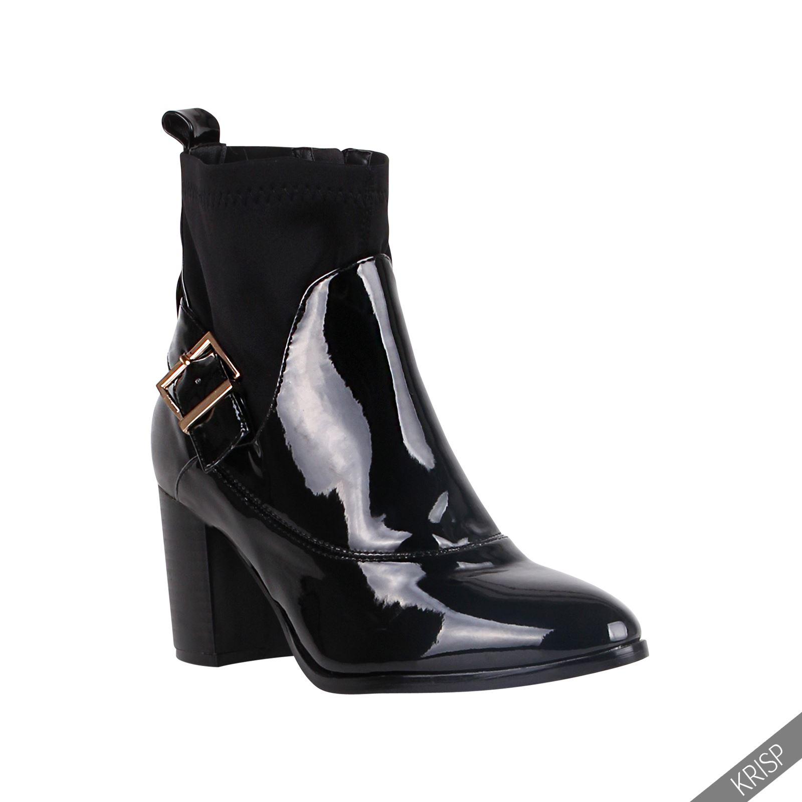 femmes bottines talon bloc aiguille vernis boots chaussures