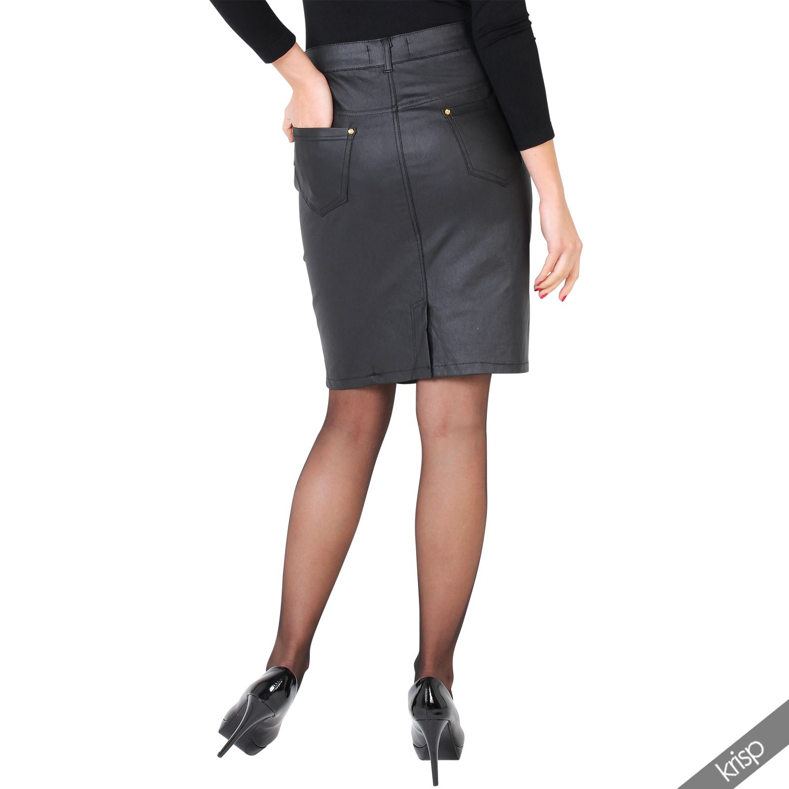 Womens-Ladies-Leather-Pencil-Skirt-Sexy-Wet-Look-Stretch-PU-Mini-Midi-Bodycon thumbnail 7