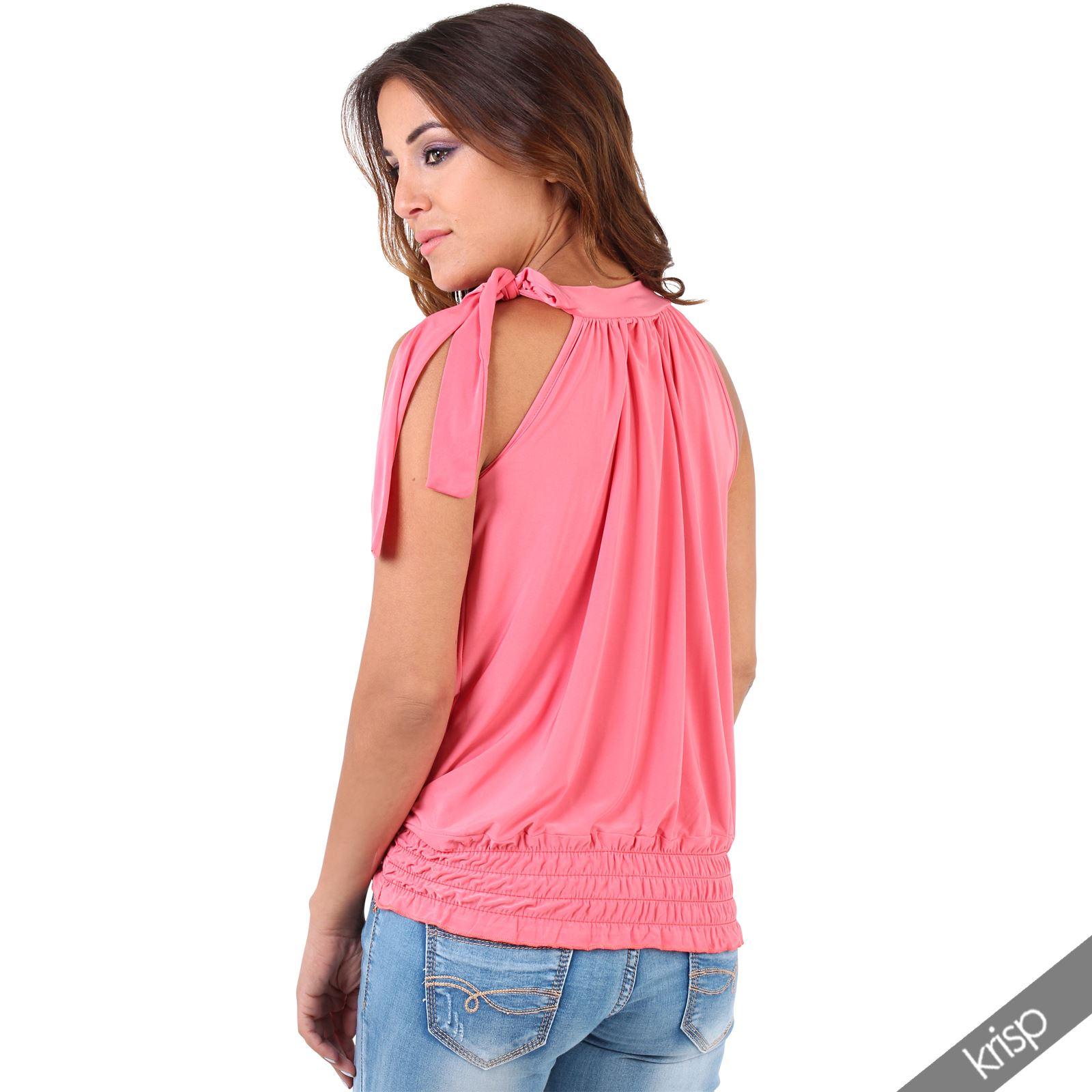 damen neckholder top rmellose bluse mit schleife plissee abendmode party ebay. Black Bedroom Furniture Sets. Home Design Ideas