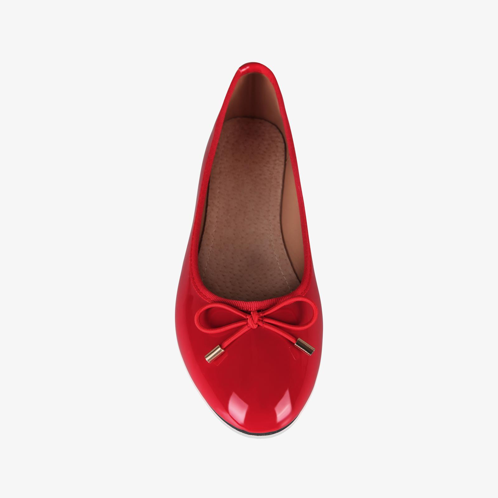 Womens-Ladies-Patent-Flat-Shoes-Ballerina-Ballet-Dolly-Court-Pumps-Slip-On-Bow thumbnail 12