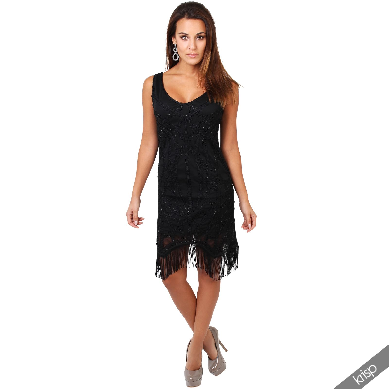 Womens Vintage 20s Flapper Fringe Sequin Deco Swing Bodycon Dress ...