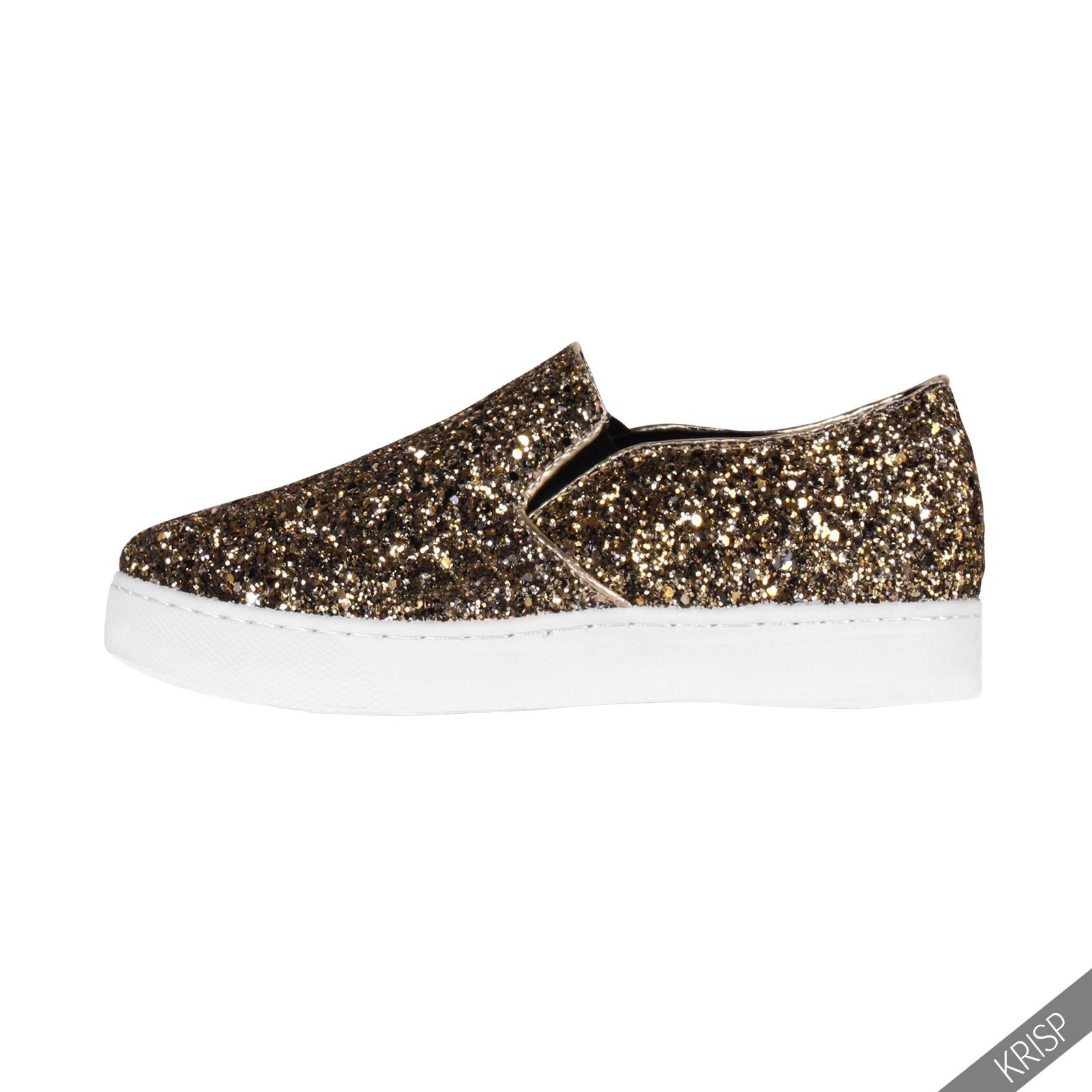 Damen Metallic Sneaker Glitzer Schuhe Flache Plateauschuhe Party Turnschuhe