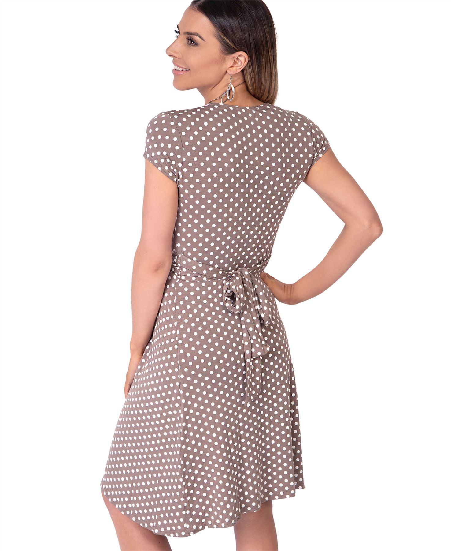 Womens-Polka-Dot-Dress-Pleated-Skirt-Wrap-Front-Mini-V-Neck-Top-Swing thumbnail 22