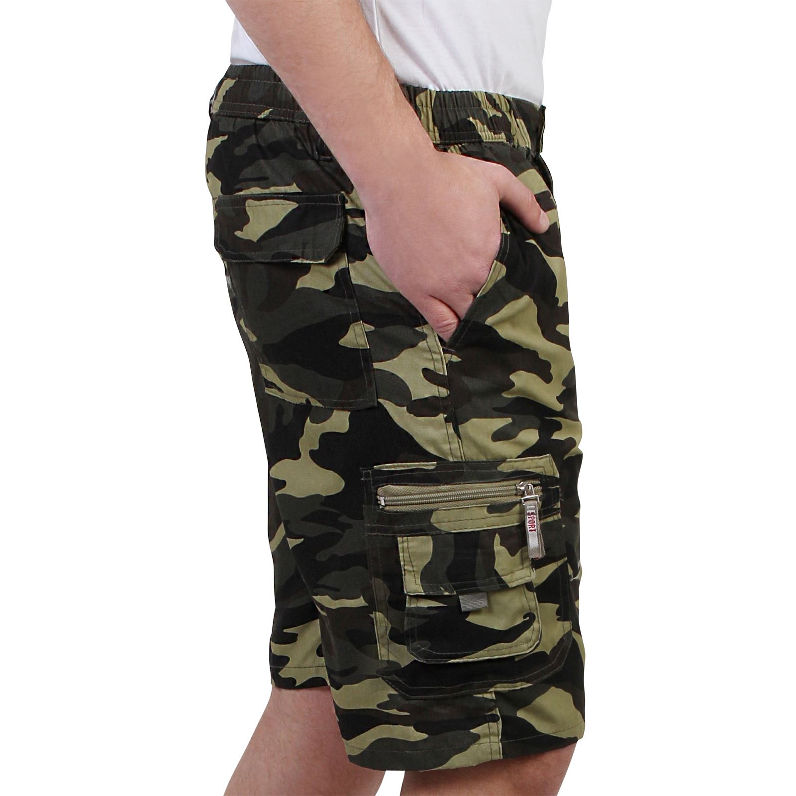 3979dbaf46 Mens Camouflage Cargo Casual Shorts Combat Army Work Cropped Cotton ...