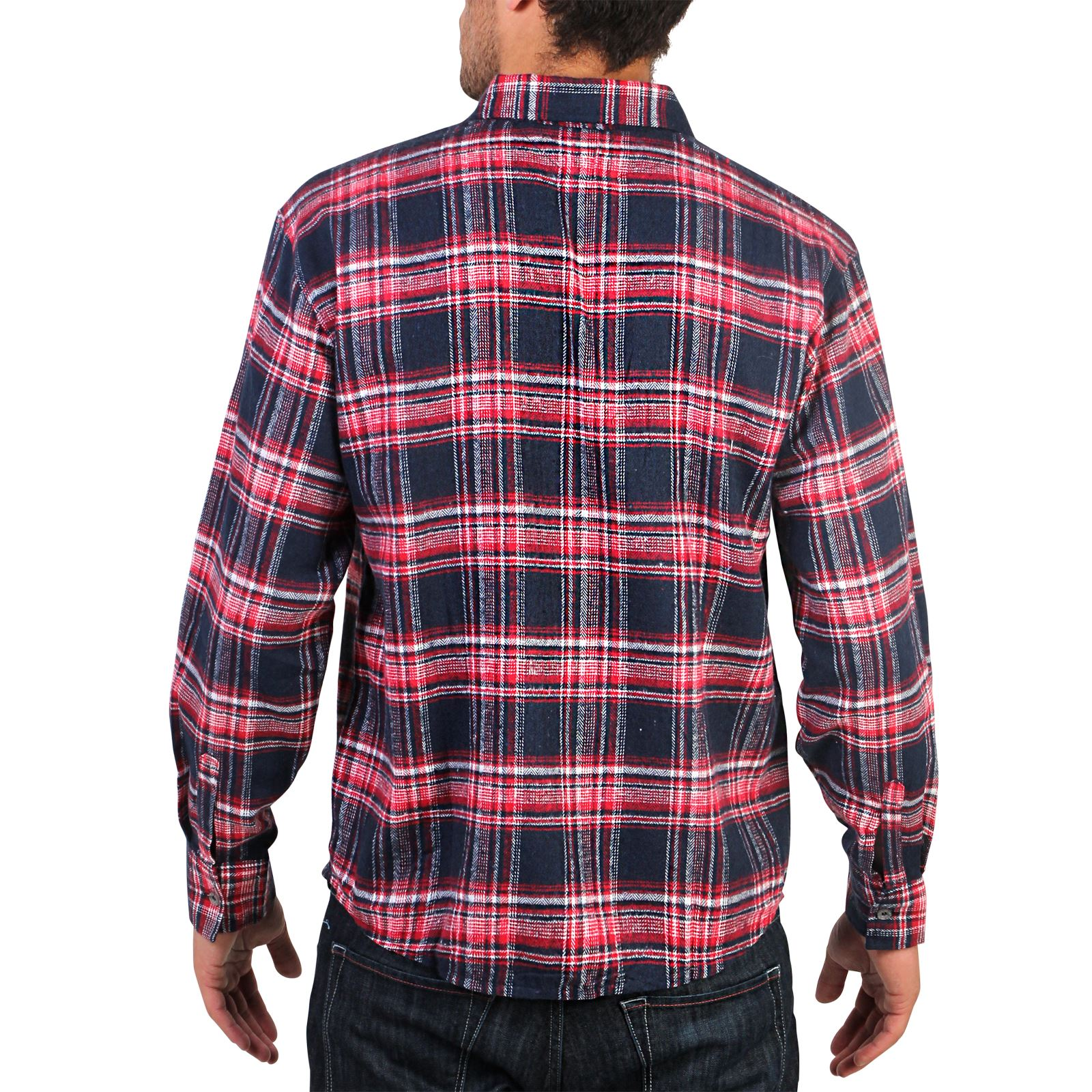 mens flannel brushed cotton lumberjack check long sleeve shirt work button top ebay. Black Bedroom Furniture Sets. Home Design Ideas