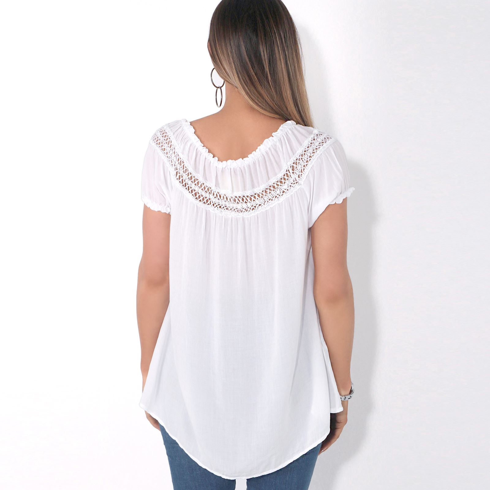 Womens-Off-Shoulder-Blouse-Gypsy-Boho-Cotton-T-Shirt-Top-Tunic-Summer-Loose-Fit thumbnail 15