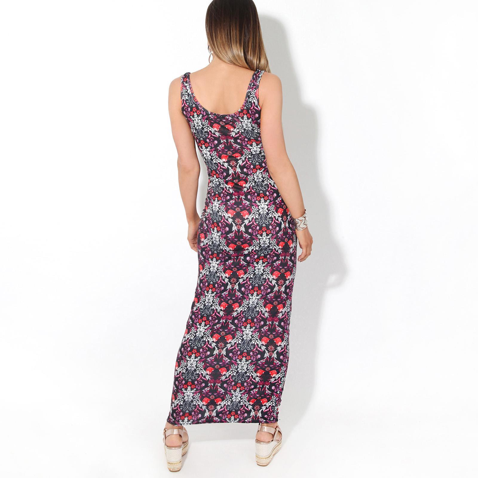 Womens-Ladies-Floral-Bodycon-Maxi-Long-Sun-Dress-Sleeveless-Pattern-Summer-Beach thumbnail 4