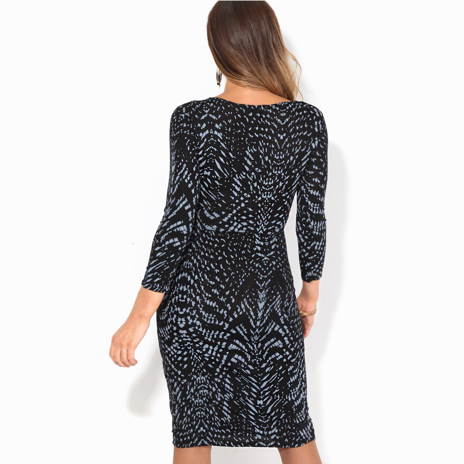 Womens-V-Neck-Dress-Top-Bodycon-Skirt-Midi-Snakeskin-Print-Cross-Over-Party-Wrap thumbnail 10