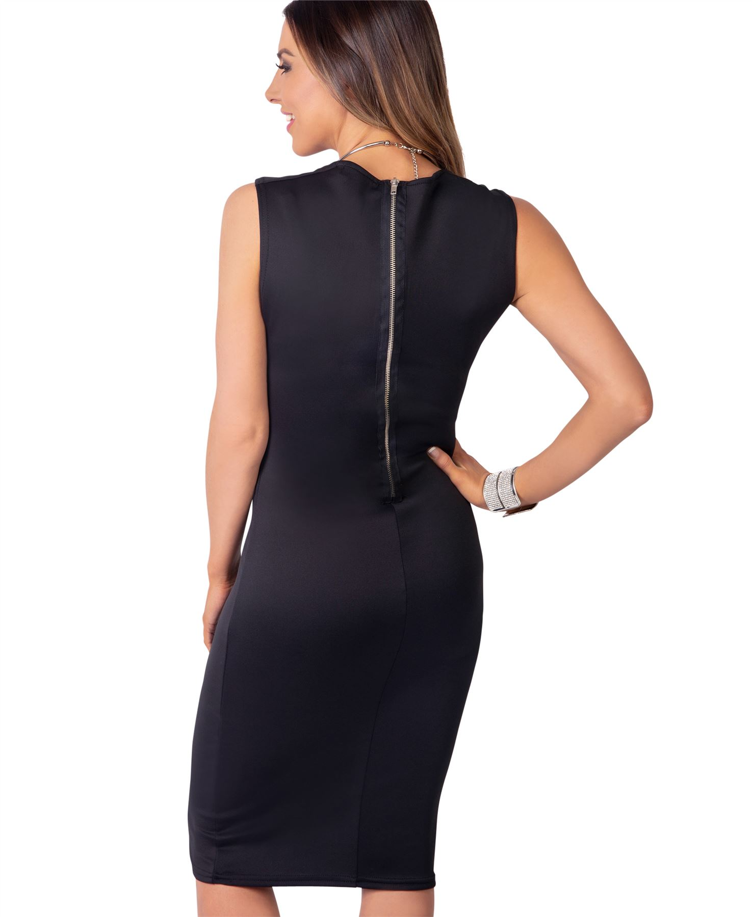 Womens-Pencil-Midi-Bodycon-Dress-Square-Neck-Panelled-Sexy-Zip-Party-Evening thumbnail 4