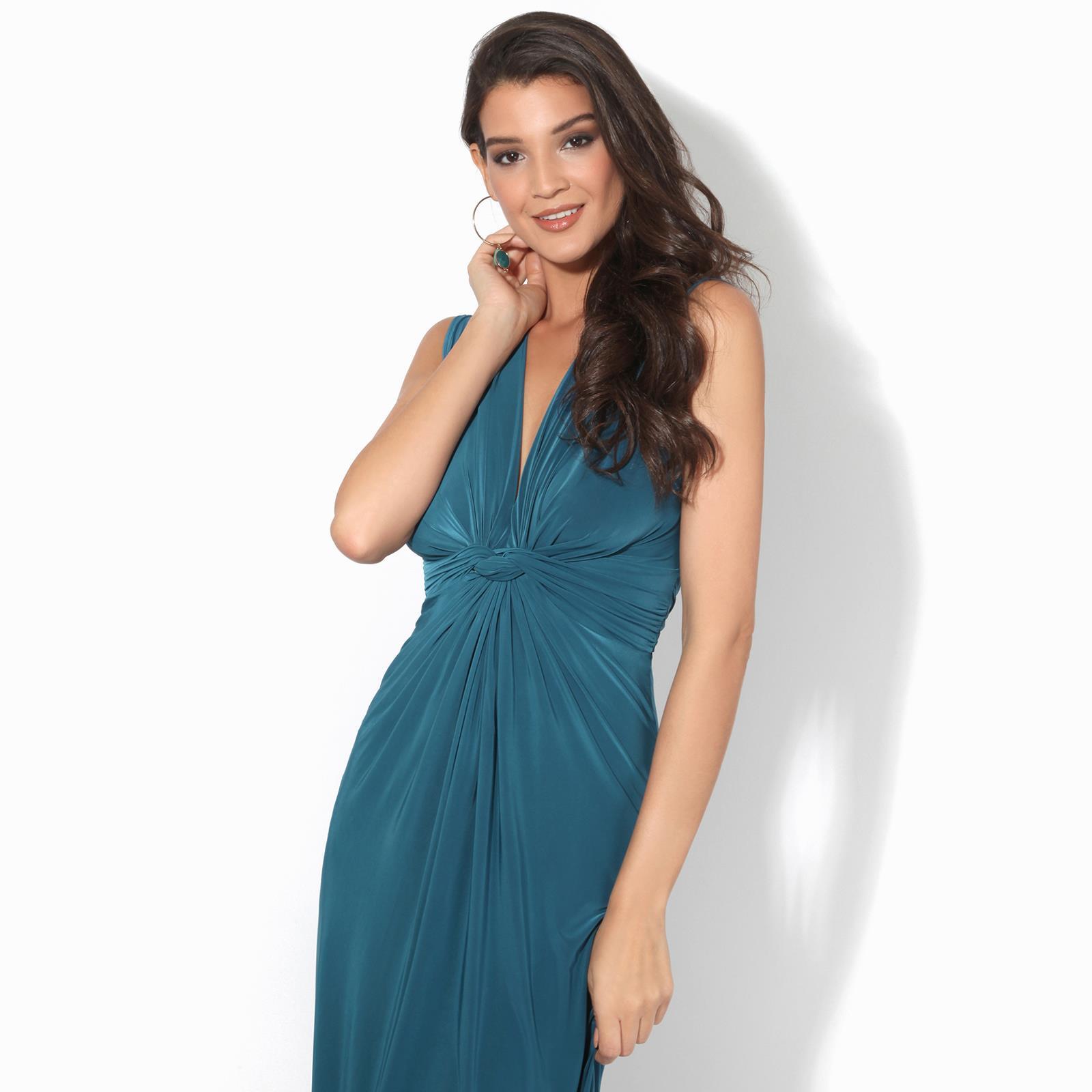 Womens-Ladies-Boho-Long-Maxi-Dress-Knot-V-Neck-Sleeveless-Pleated-Summer-Party thumbnail 12