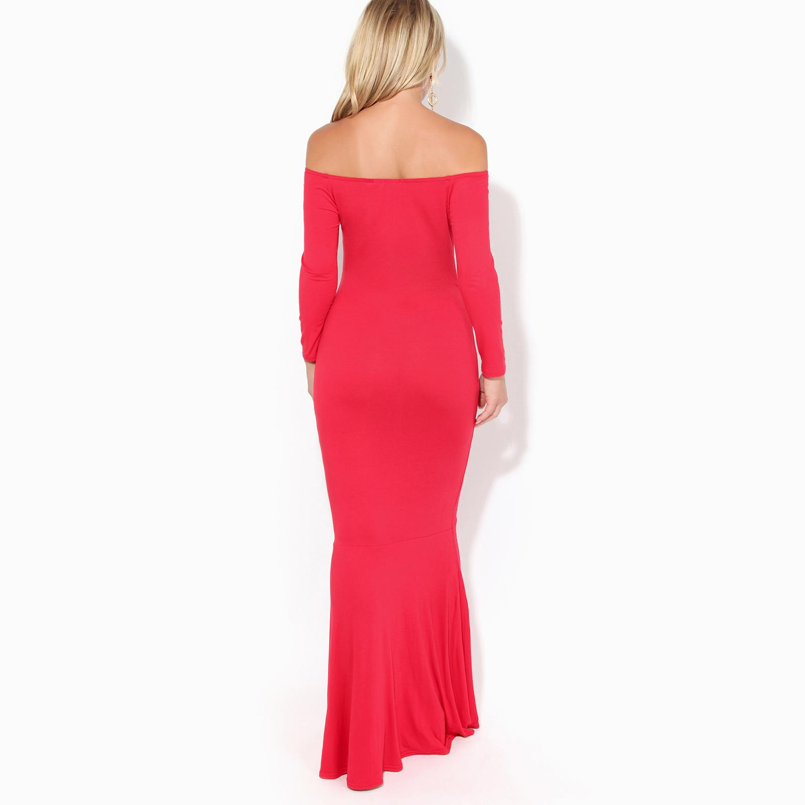 Womens-Ladies-Bodycon-Maxi-Dress-Off-Shoulder-Fishtail-Bardot-Long-Evening-Party thumbnail 12