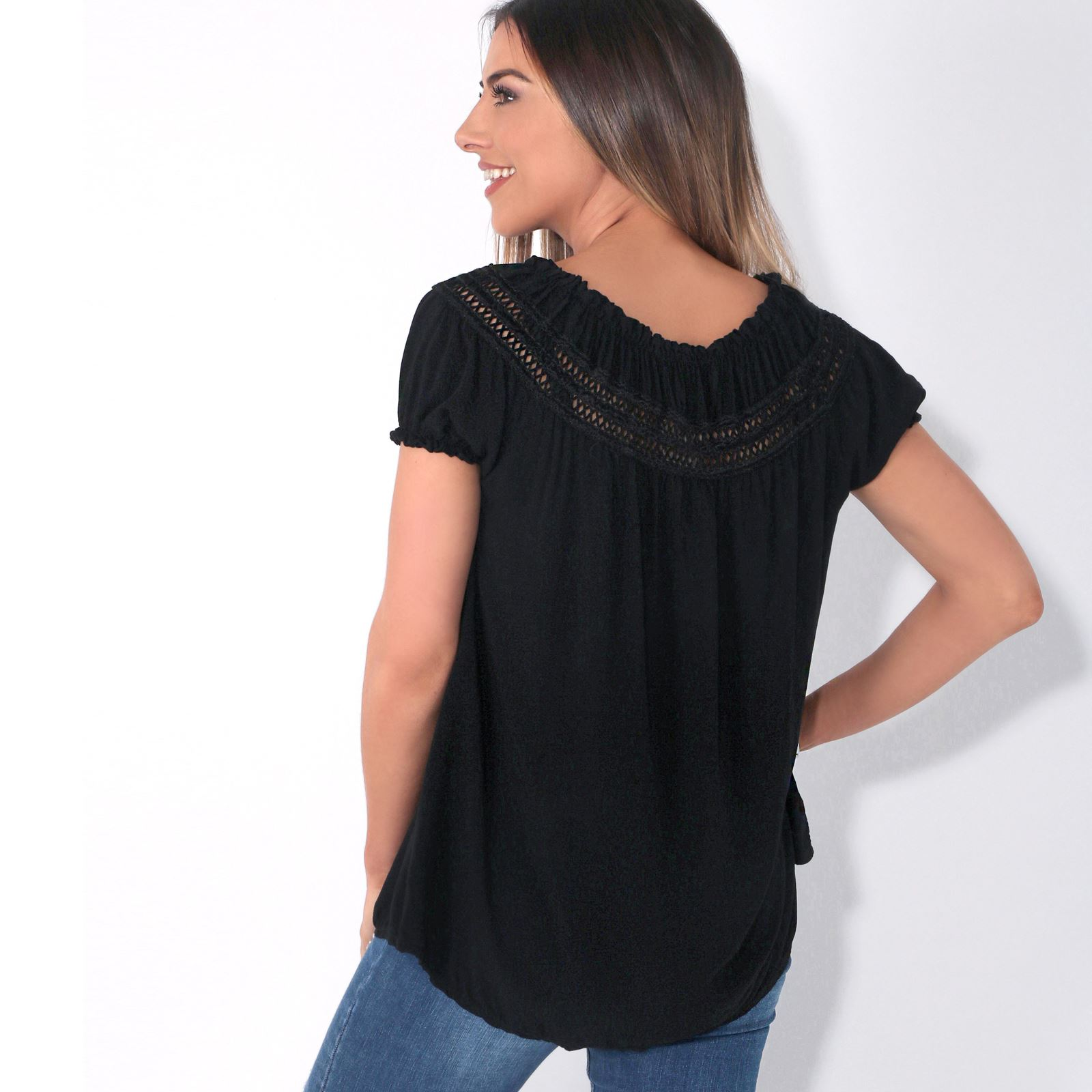 Womens-Off-Shoulder-Blouse-Gypsy-Boho-Cotton-T-Shirt-Top-Tunic-Summer-Loose-Fit thumbnail 3