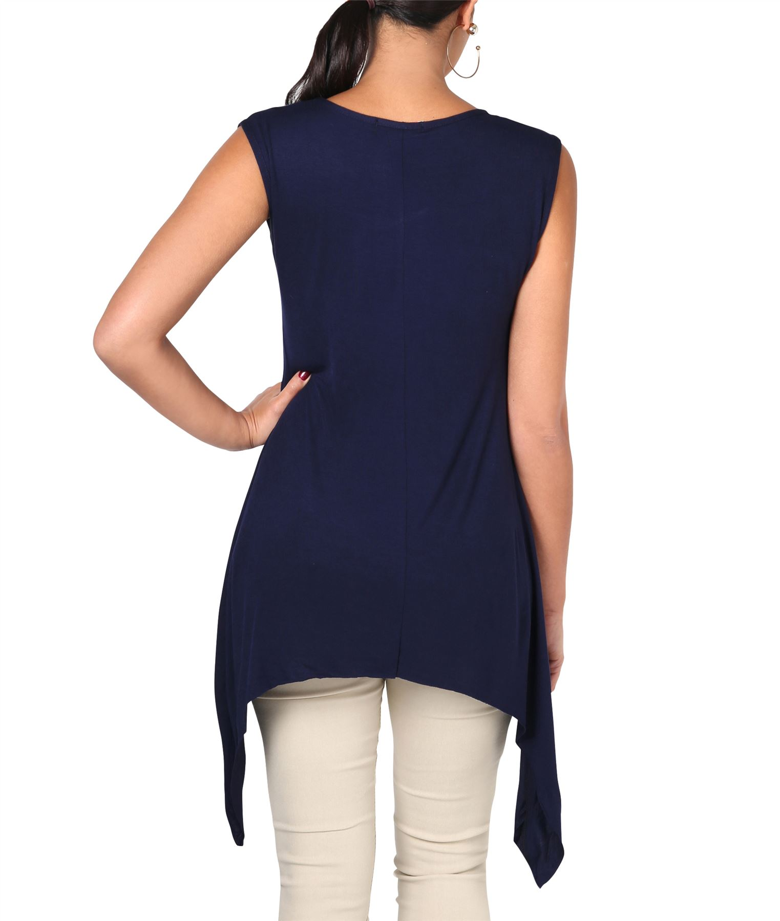Women-Long-Top-Sleeveless-Pleated-Tee-Shirt-Tunic-Jersey-Stretch-Loose-Fit thumbnail 21