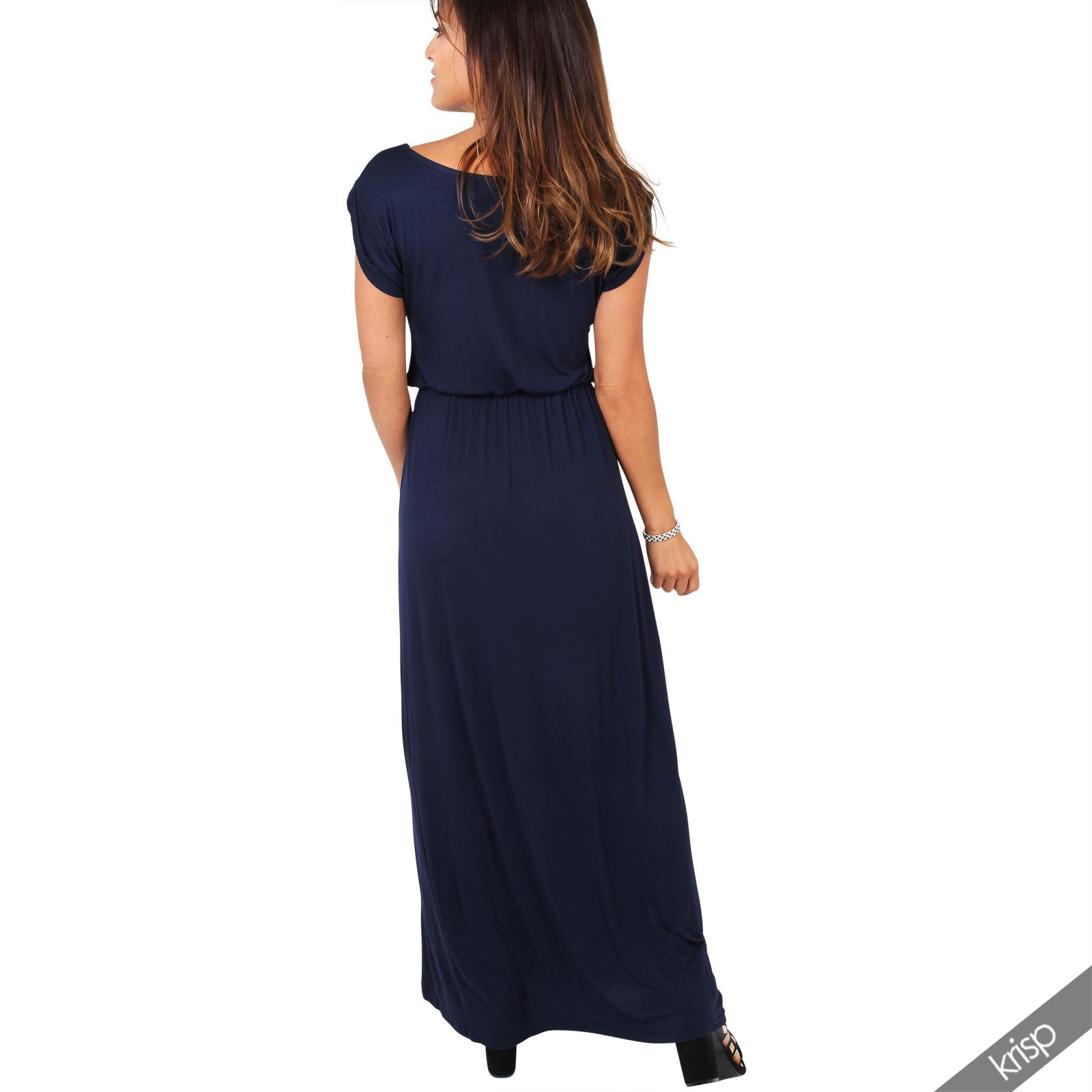 Womens Ladies Short Sleeve Maxi Cotton Dress Long Jersey ...