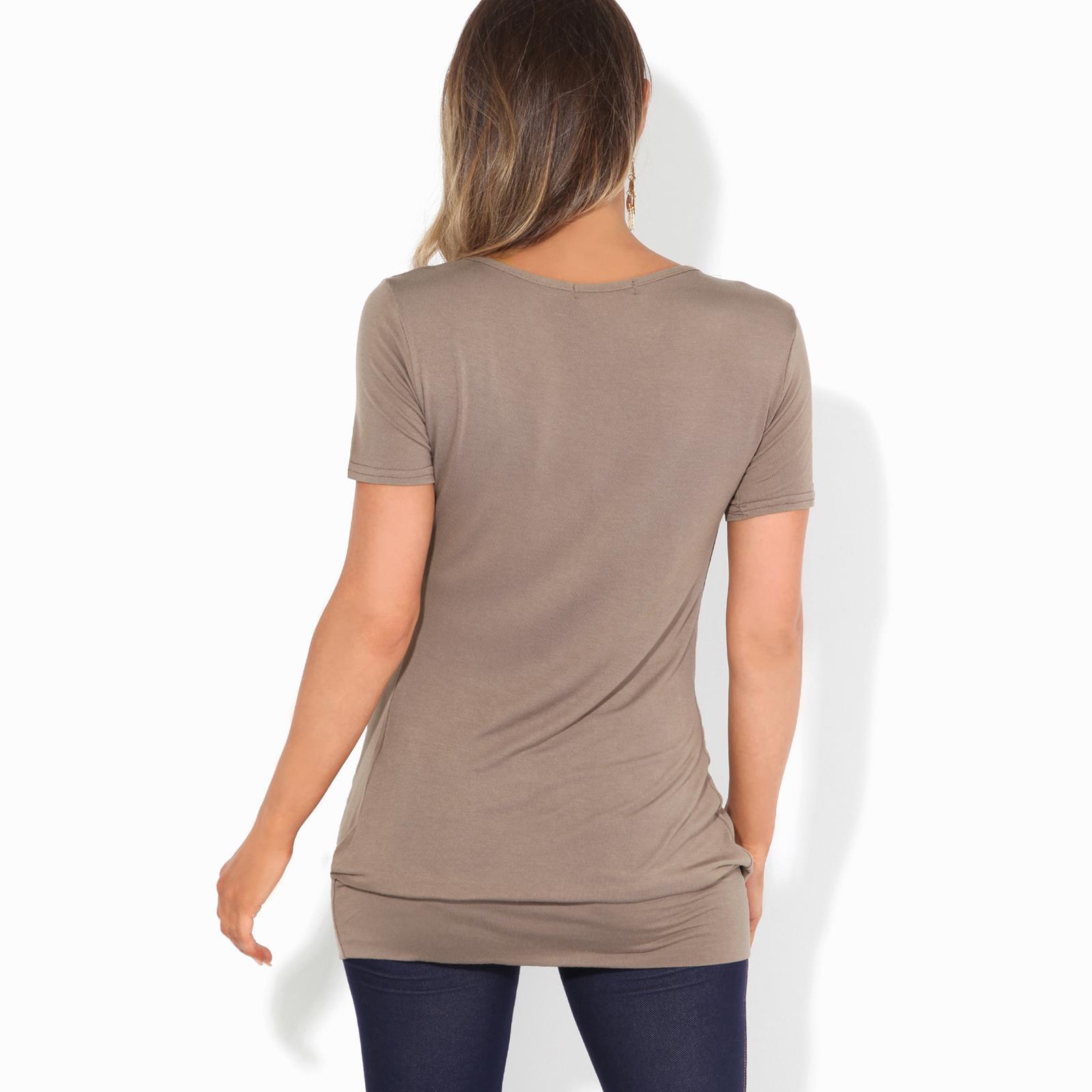 Femmes-Top-Haut-Chemisier-T-Shirt-Chemise-Blouse-Tunique-Long-Grandes-Tailles miniature 9