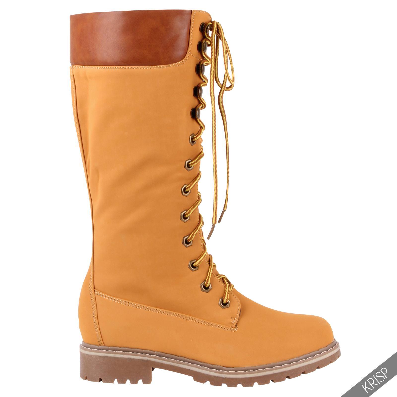 Botines-Mujer-Camel-Bota-Plana-Suela-Goma-Cordones-Casual-Otono-Invierno-Tacon miniatura 14