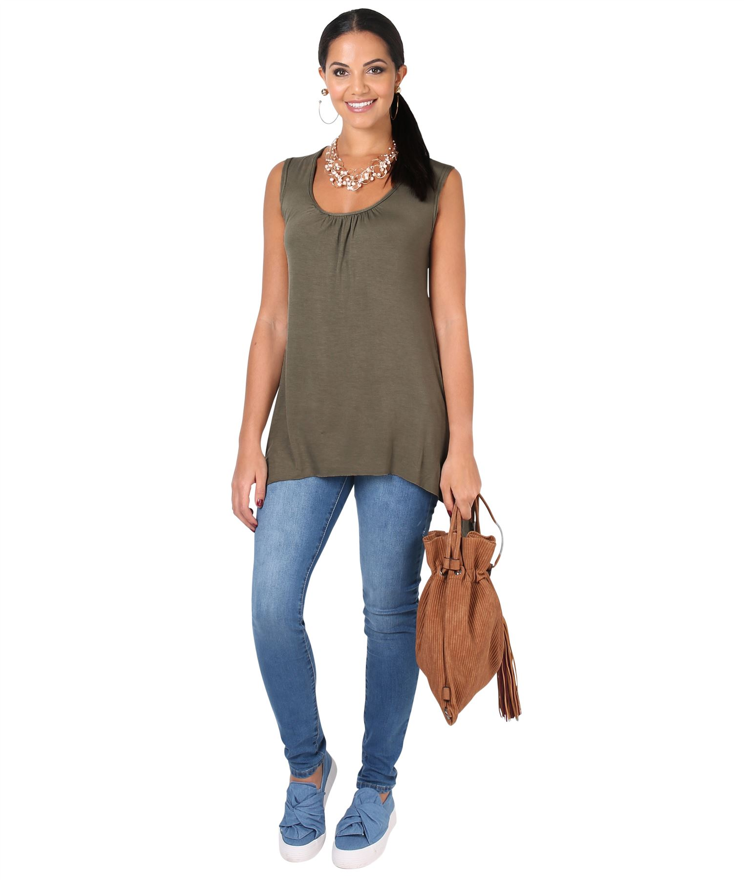 Women-Long-Top-Sleeveless-Pleated-Tee-Shirt-Tunic-Jersey-Stretch-Loose-Fit thumbnail 13