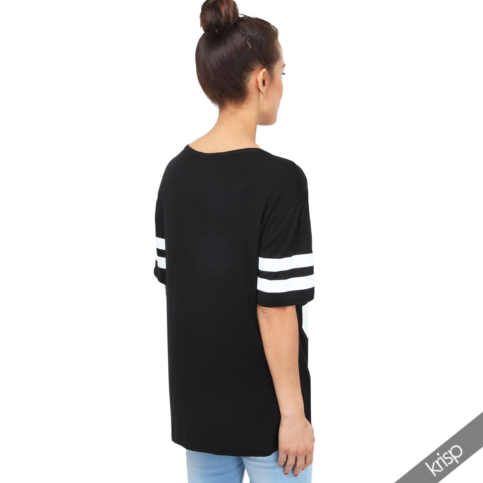9f91b9fa Womens Oversized American Varsity T Shirt Baggy Baseball Long Tee ...