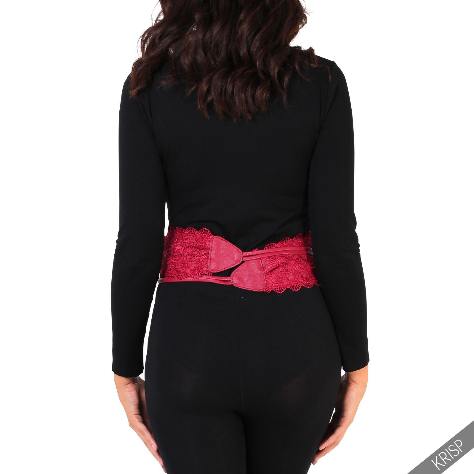 thumbnail 65 - Womens-Ladies-Wide-Waist-Belt-Floral-Waistband-Pattern-Band-Crochet-Lace-Corset