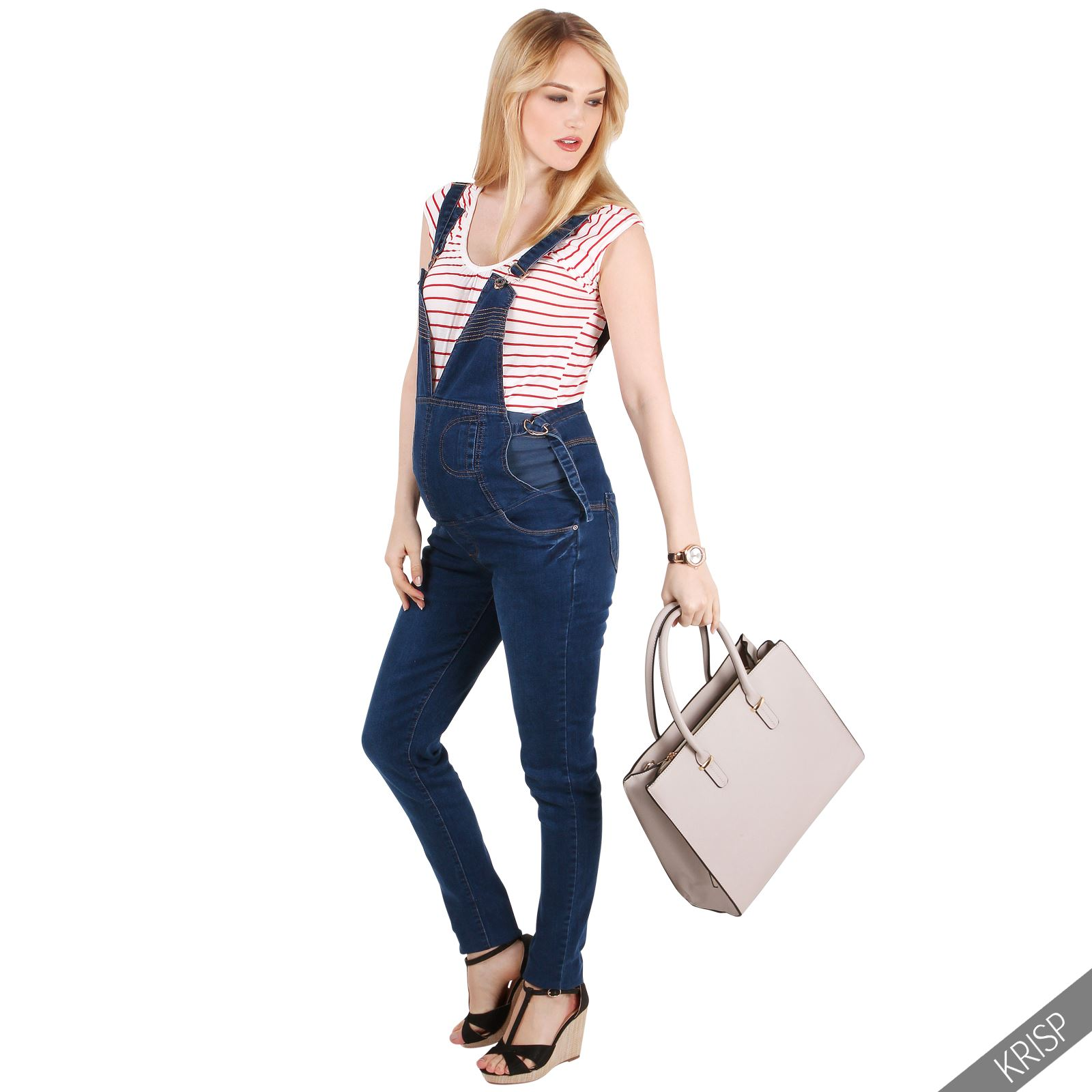 damen high waist umstandsjeans trendige latzhose jeans. Black Bedroom Furniture Sets. Home Design Ideas