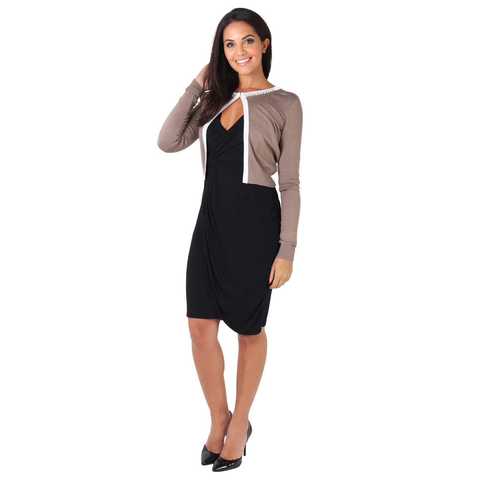 Femmes-Bolero-Jacket-Veste-Cardigan-Gilet-Chandail-Tricot-Perles-Manche-Longue