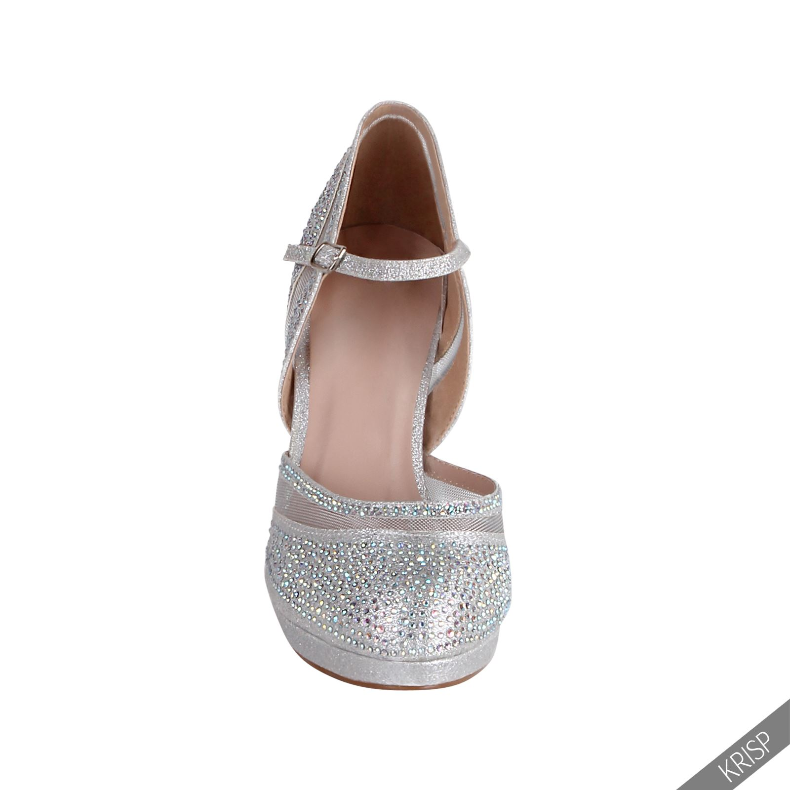 womens glitter peep toe evening high heel sandals ankle