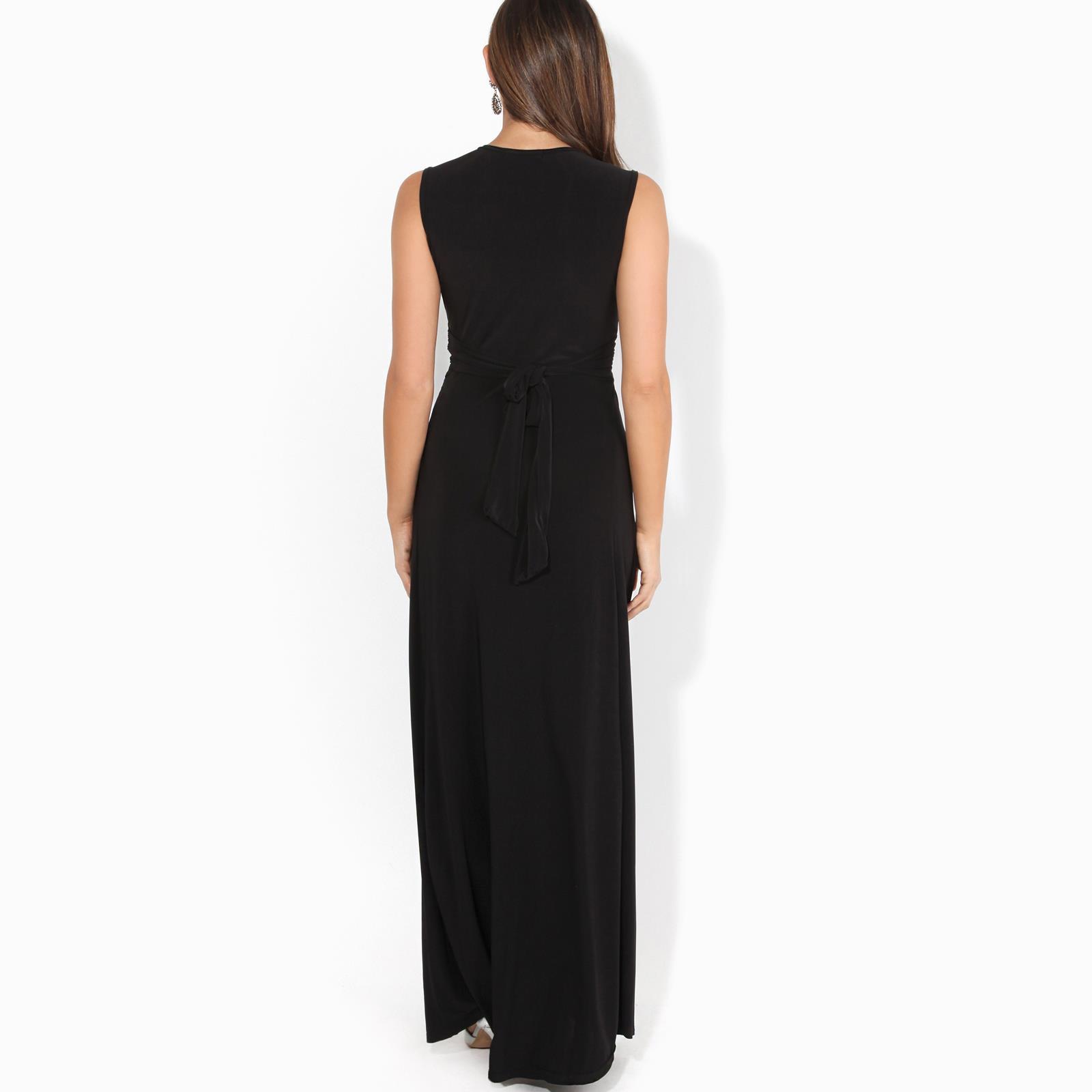 Womens-Ladies-Boho-Long-Maxi-Dress-Knot-V-Neck-Sleeveless-Pleated-Summer-Party thumbnail 4