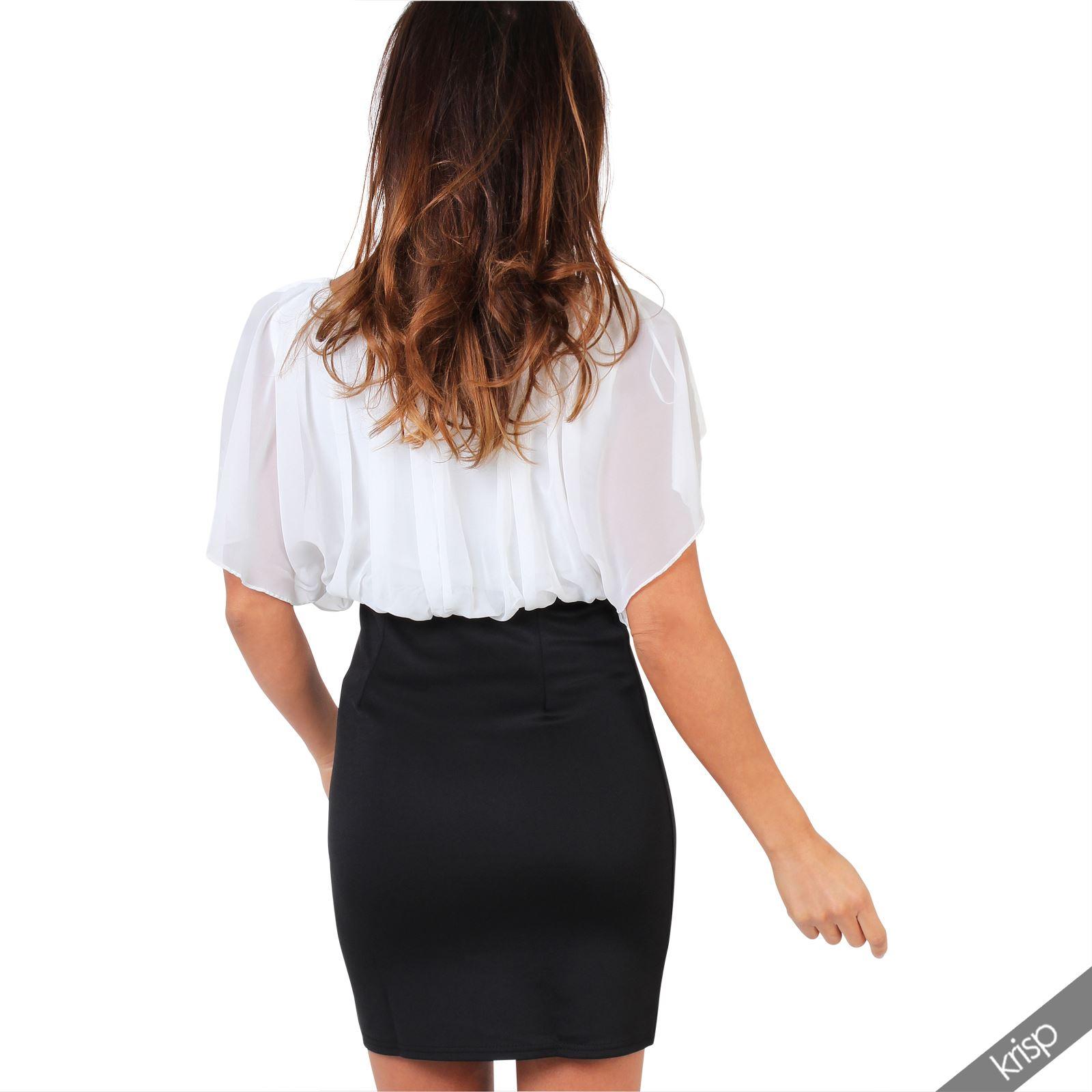 Womens-Pleated-Chiffon-Batwing-Top-High-Waist-Pencil-Bodycon-Skirt-Mini-Dress thumbnail 15