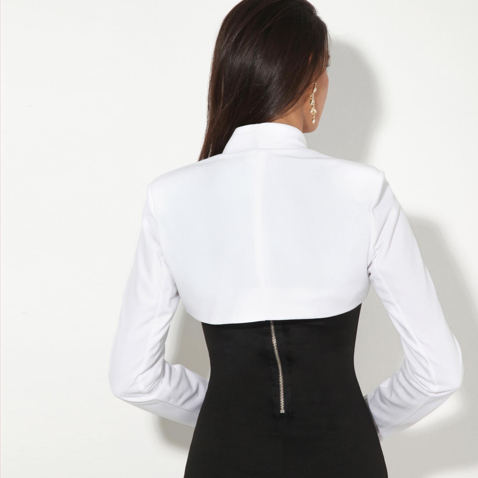Femmes-Veste-Courte-Bolero-Blazer-Jacket-Manche-3-4-Gilet-Cardigan-Cache-Epaule miniature 3