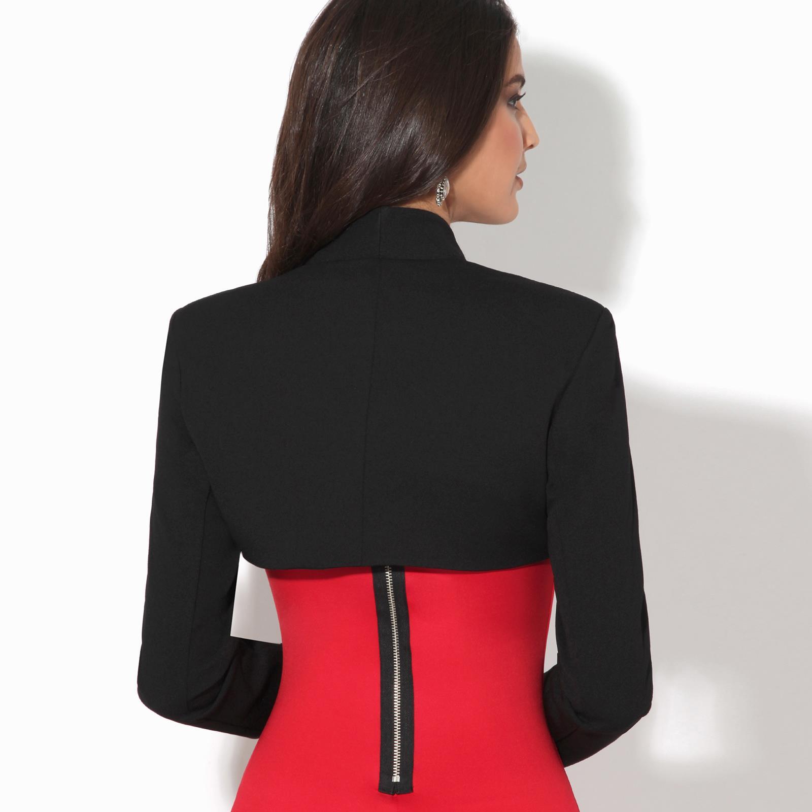Femmes-Veste-Courte-Bolero-Blazer-Jacket-Manche-3-4-Gilet-Cardigan-Cache-Epaule miniature 9