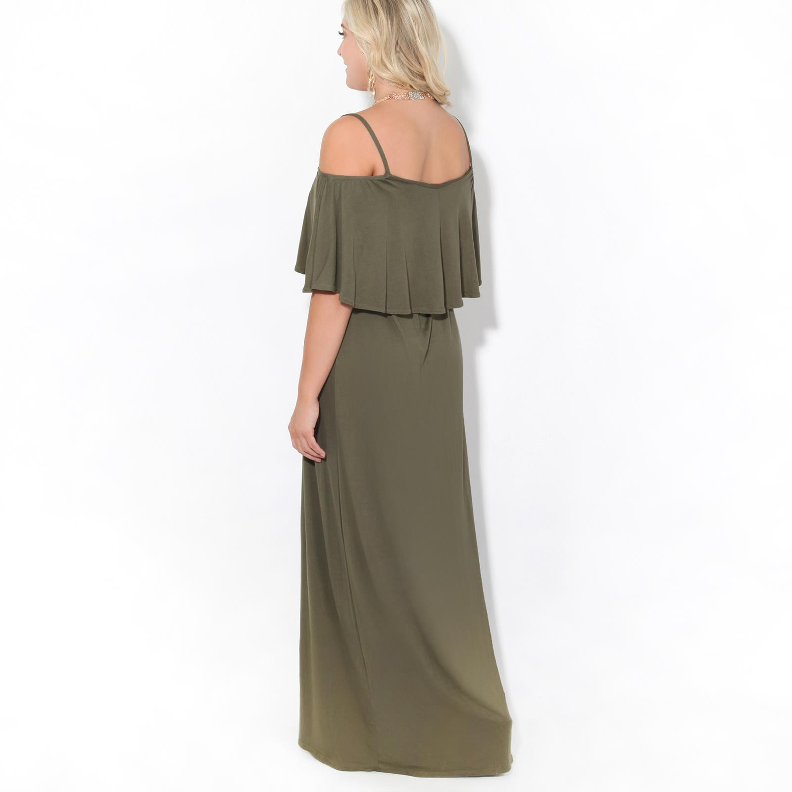 Womens-Ladies-Maxi-Dress-Sundress-Cold-Off-Shoulder-Strappy-Ruffle-Jersey-Summer thumbnail 7