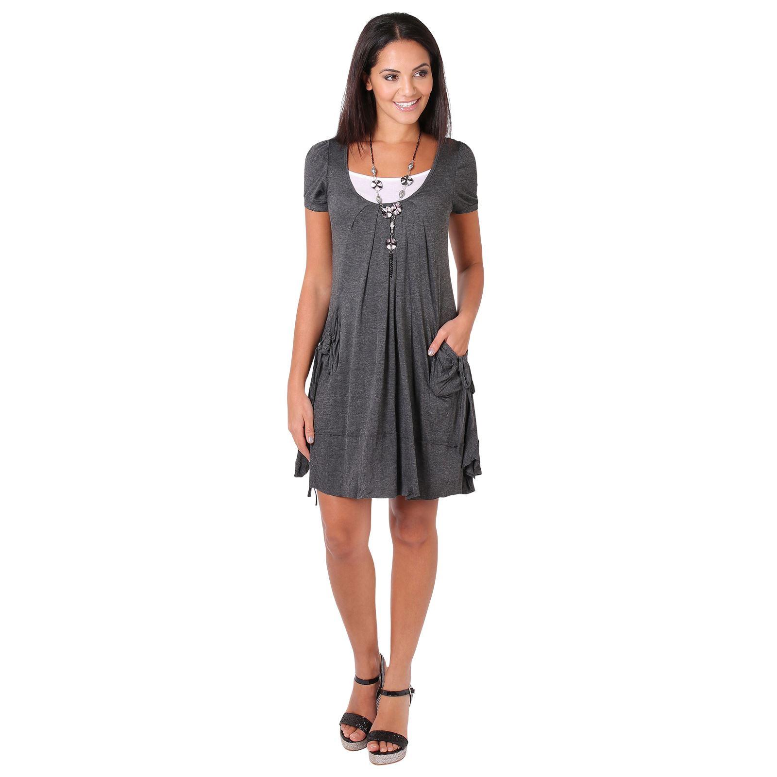 KRISP-Women-2-in-1-Boho-Gypsy-Tunic-Dress-Top-Tee-Jersey-Pleated-A-Line-Necklace thumbnail 6